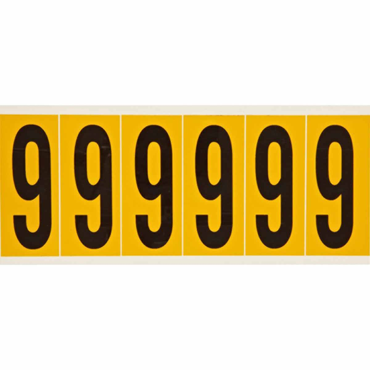 Brady® 1550-9 Non-Reflective Standard Number Label, 2.938 in H Black 9 Character, Yellow Background, B-946 Vinyl