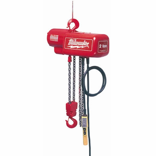 Milwaukee® 9571 3-Phase Lightweight Electric Chain Hoist, 2 ton Load, 10 ft H Lifting, 1 hp Power Rating, 230 to 460 VAC