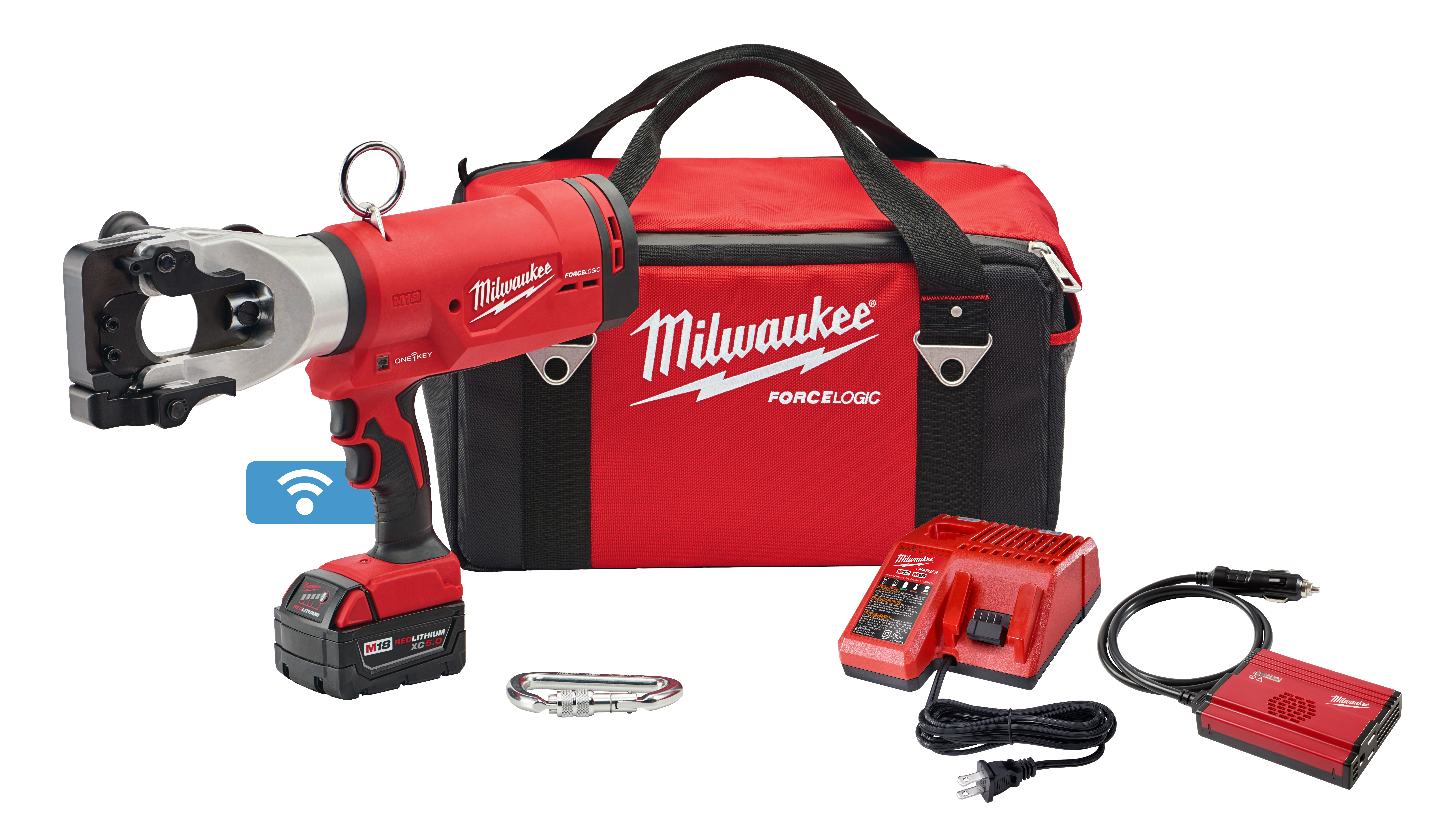 Milwaukee® M18™ 2777-21 FORCE LOGIC™ Cordless Cable Cutter Kit, Up to 1590 Falcon ACSR Cutting, 18 VDC, 5 Ah Lithium-Ion Battery