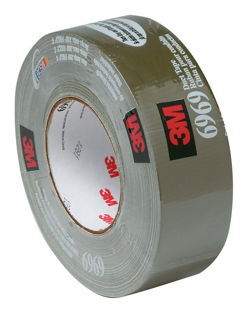 3M™ 6969 Extra Heavy Duty Duct Tape, 54.8 m L x 48 mm W, 10.7 mil THK, Rubber Adhesive, Polyethylene Film Over Cloth Scrim Backing, Black