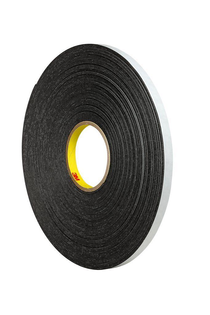 """3M™ 4466B-1/2""""x36yd Double Coated Tape, 36 yd L x 1/2 in W, 62 mil THK, Rubber Adhesive, Polyethylene Foam Backing, Black"""