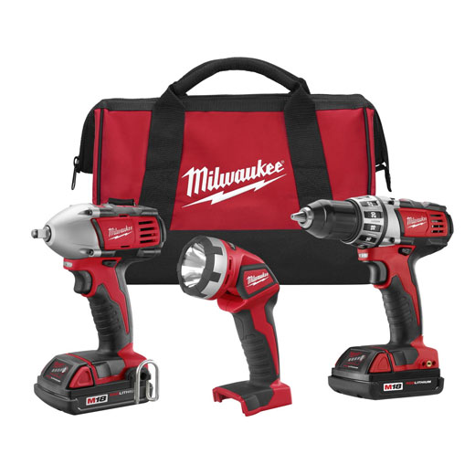 Milwaukee® M18™ 2691-23 Cordless Combination Kit, Tools: Compact Drill Driver, Impact Wrench, 18 VDC, 1.5 Ah Lithium-Ion, Keyless Blade