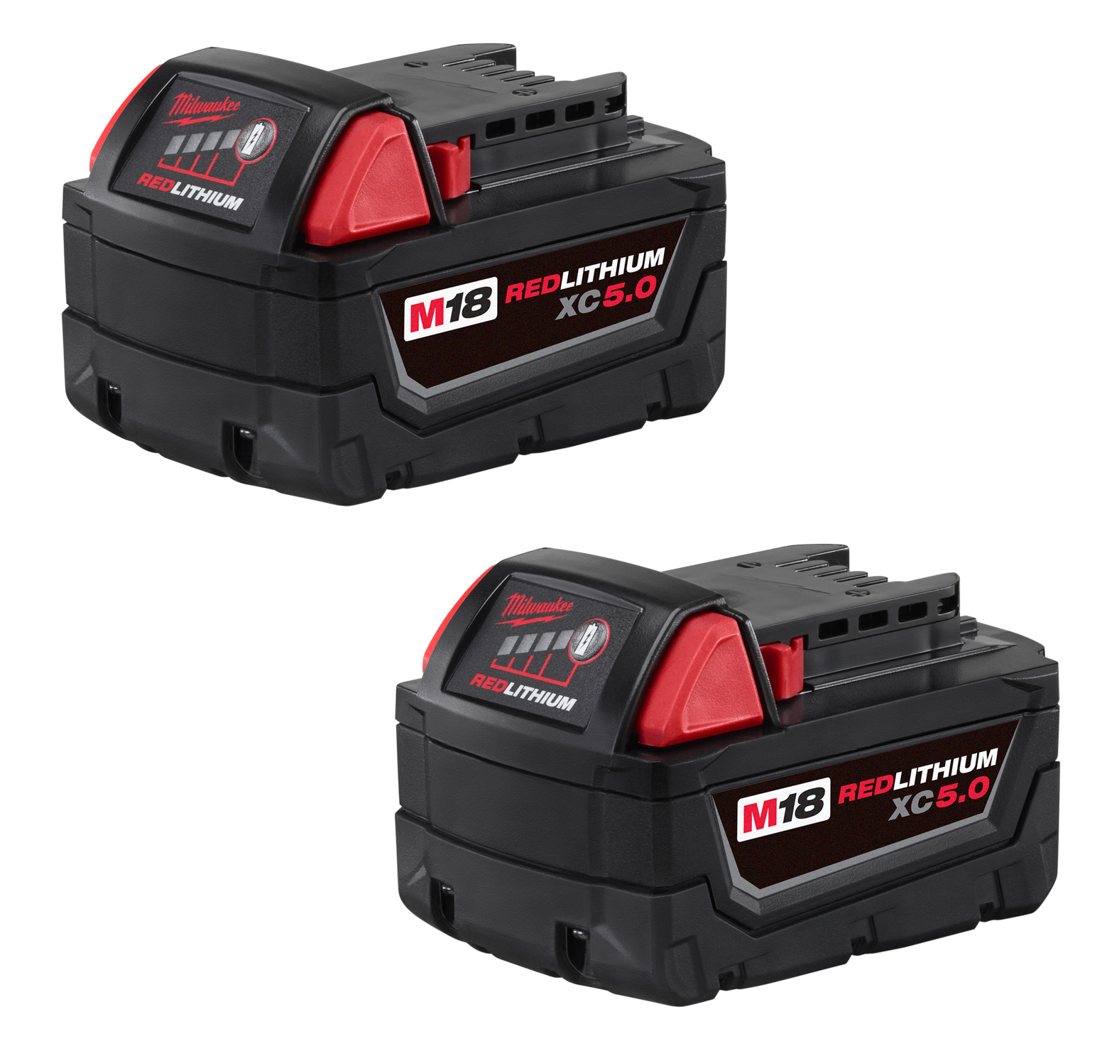 Milwaukee® M18™ REDLITHIUM™ 48-11-1852 Rechargeable Cordless Battery Pack, 5 Ah Lithium-Ion Battery, 18 VDC Charge, For Use With Milwaukee® M18™ Cordless Power Tool