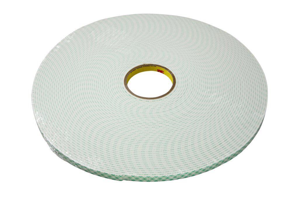 """3M™ 4008-1/2""""x36yd Double Coated Tape, 36 yd L x 1/2 in W, 125 mil THK, Acrylic Adhesive, Urethane Foam Backing, Off-White"""