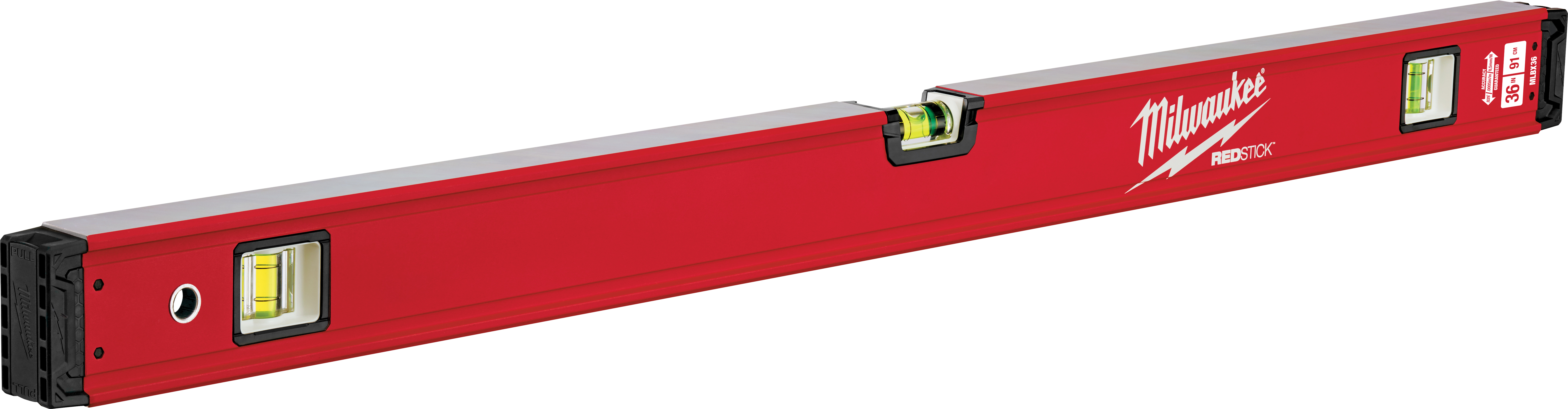 Milwaukee® REDSTICK™ MLBX36 Box Level, 36 in L, 3 Vials, Aluminum, (1) Level, (2) Plumb Vial Position, 0.0005 in/in Accuracy