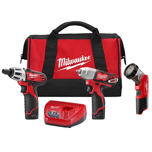 Milwaukee® M12™ 2491-23 Cordless Combination Kit, Tools: Impact Wrench, Screwdriver, Worklight, 12 VDC, 1.5 Ah Lithium-Ion, Keyless Chuck, Variable Speed