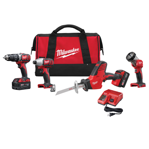 Milwaukee® M18™ 2695-24 4-Tool Cordless Combination Kit, Tools: Hammer Drill, Impact Driver, Reciprocating Saw, 18 VDC, 3 Ah Lithium-Ion Battery, Keyless Blade