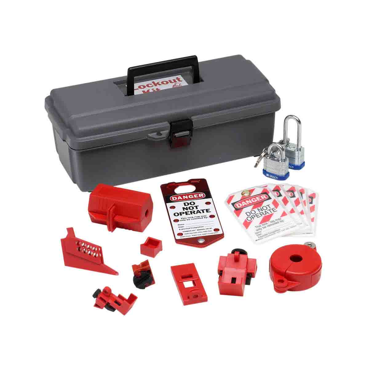 Brady® 65289 Electrical/Mechanical Risk Lockout Toolbox, 14 Pieces, 5-1/4 in H x 14 in W x 6-1/2 in D, Language: English