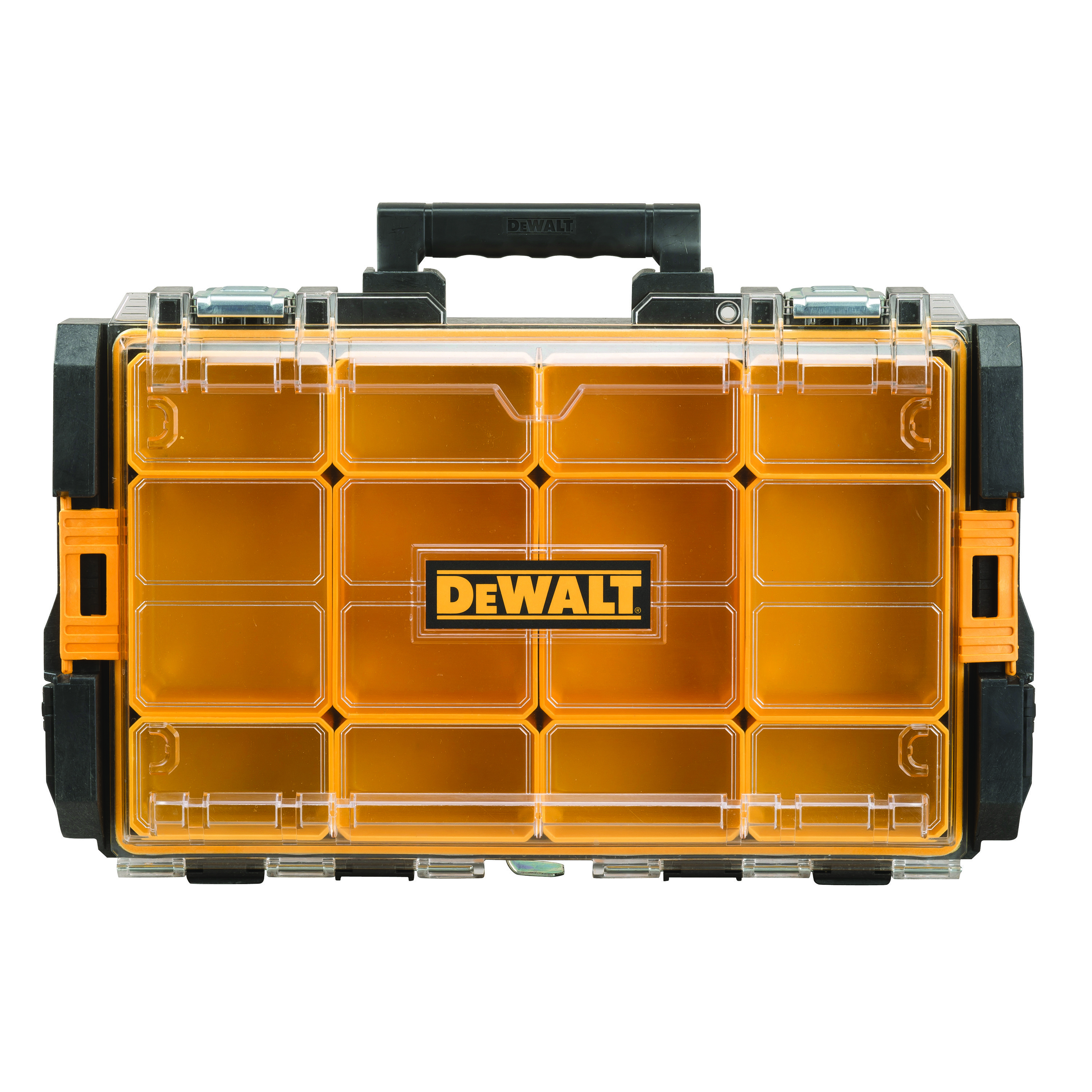 DeWALT® ToughSystem® DWST08202 12-Compartment Tool Organizer, 4-1/2 in H x 13-1/8 in W x 13-5/32 in D, Polycarbonate, Black/Yellow