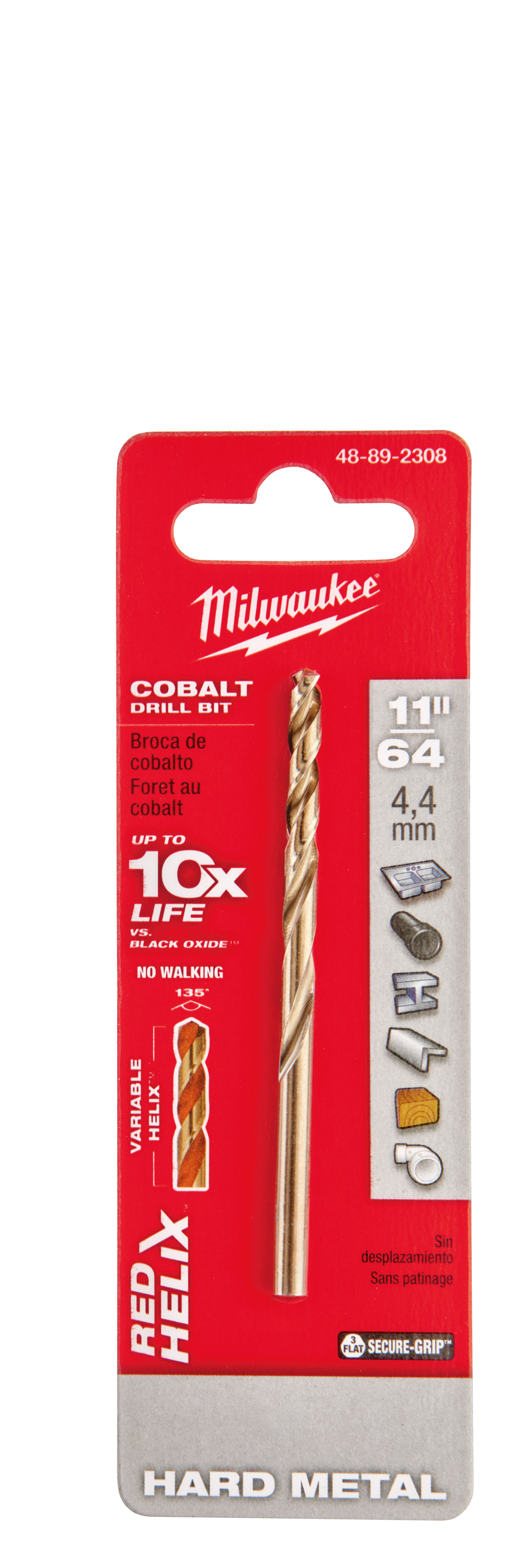 Milwaukee® 48-89-2308 RED HELIX™ Jobber Length Twist Drill Bit, 11/64 in Drill - Fraction, 0.1719 in Drill - Decimal Inch, 135 deg Point, High Speed Cobalt, Uncoated