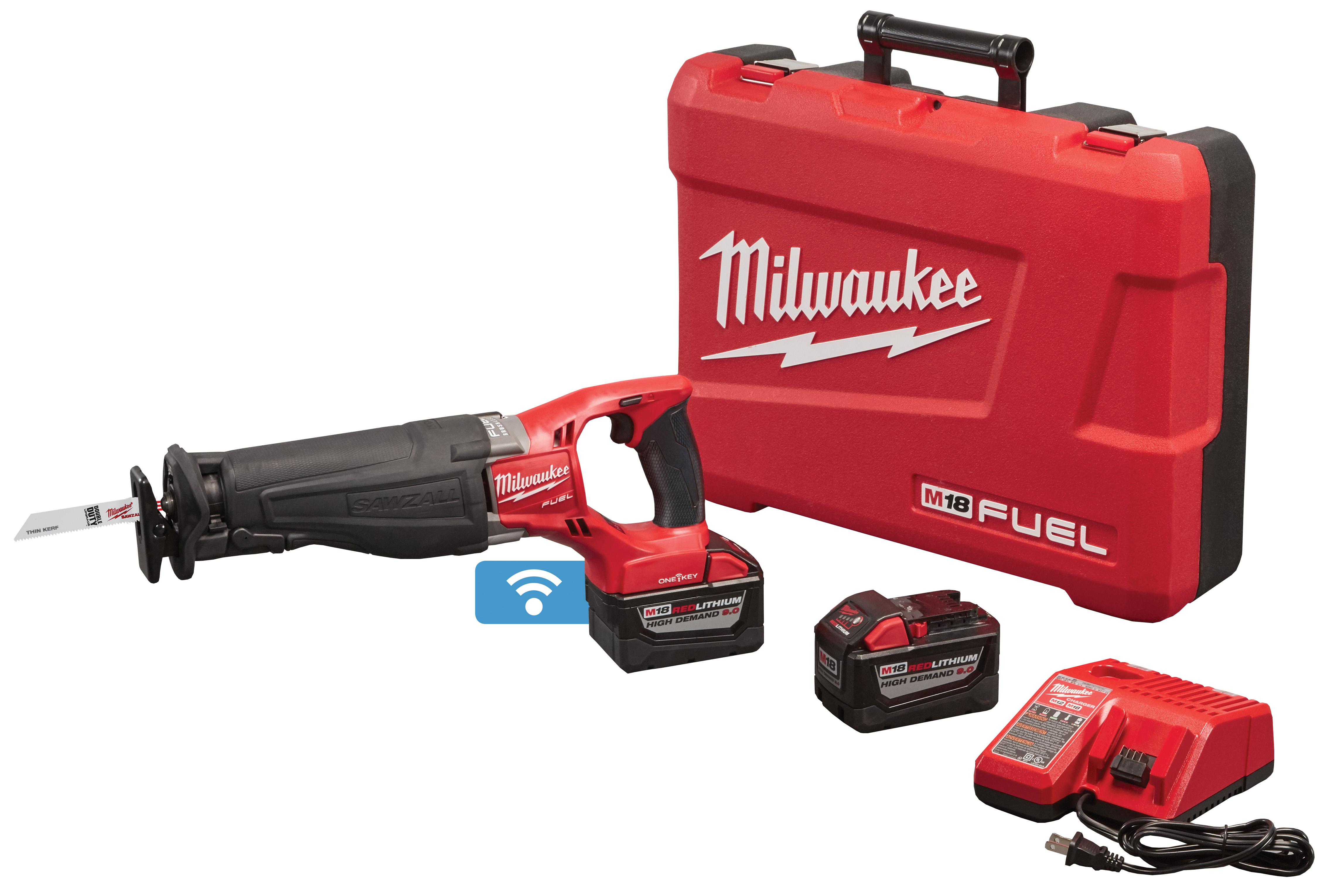 Milwaukee® M18™ FUEL™ SAWZALL™ 2721-22HD Adjustable Shoe High Demand Cordless Reciprocating Saw Kit With One-Key™, 1-1/8 in L Stroke, 0 to 3000 spm, Straight Cut, 18 VDC, 17-3/4 in OAL