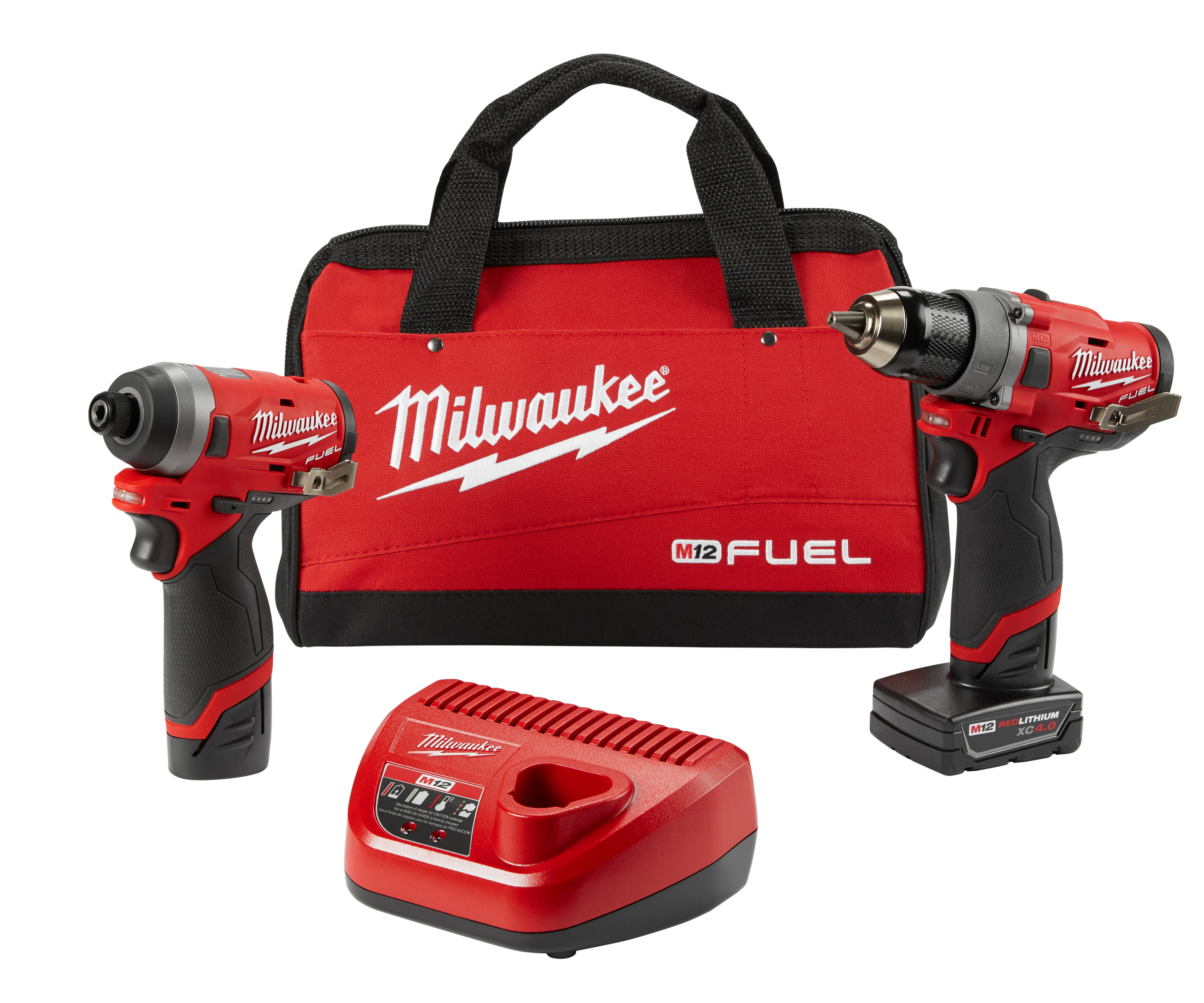 Milwaukee® M12™ FUEL™ 2596-22 Cordless Combination Kit, Tools: Drill Driver, Impact Driver, 12 VAC, 2 Ah Lithium-Ion, Pistol Grip Handle