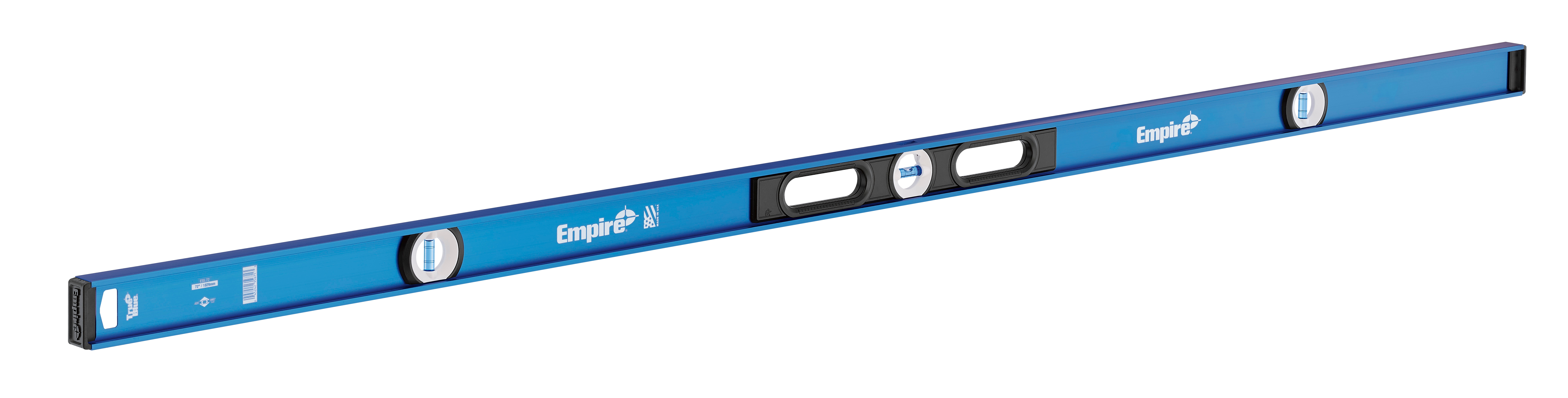Milwaukee® Empire® TRUE BLUE® E55.72 Non-Magnetic I-Beam Level, 72 in L, 3 Vials, Aluminum, (1) Level, (2) Plumb Vial Position, 0.0005 in Accuracy
