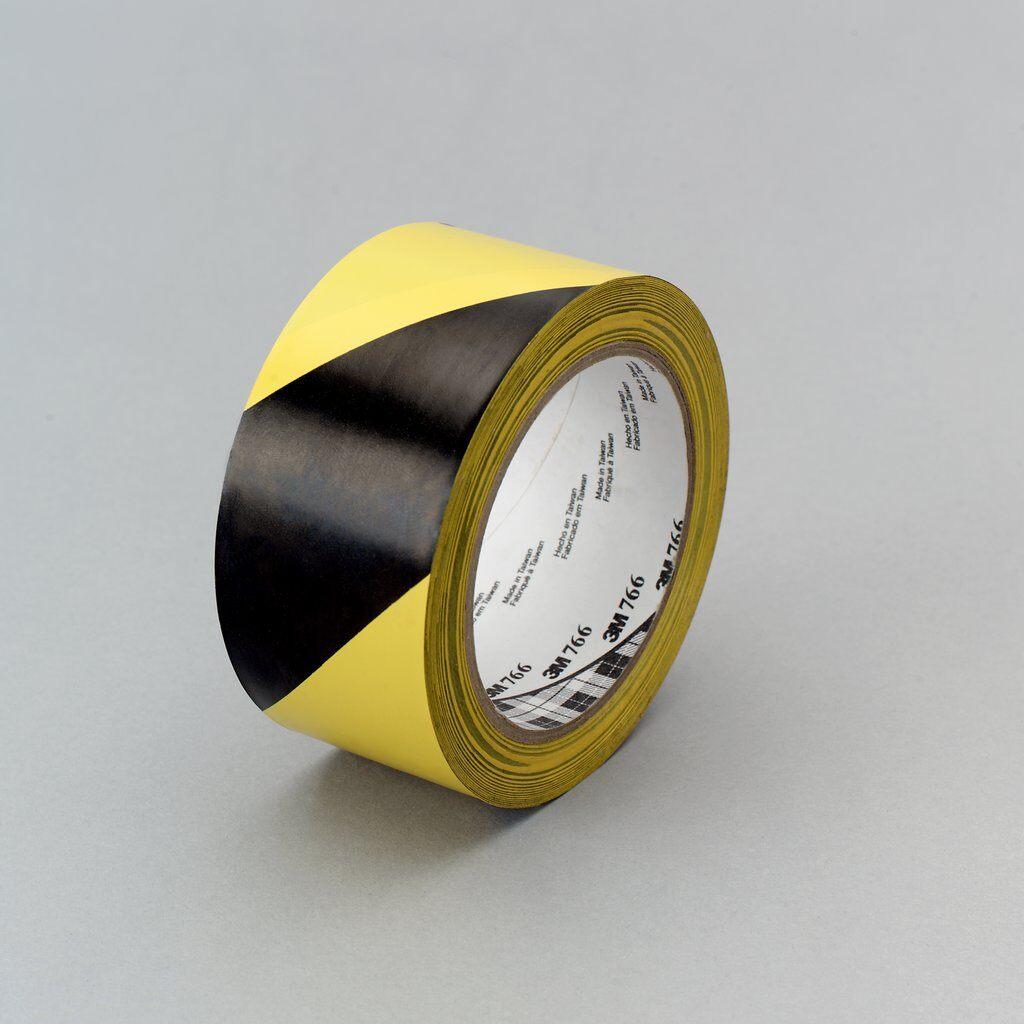 3M™ 021200-43181 766 Single Sided Hazard Warning Tape, 36 yd L x 2 in W, Black/Yellow, Rubber Adhesive/Vinyl Backing