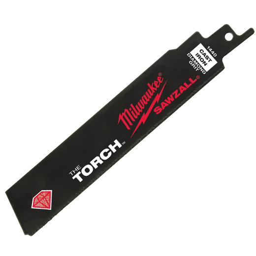 Milwaukee® SAWZALL® The Torch™ 48-00-1440 Straight Back Reciprocating Saw Blade, 6 in L x 1 in W, D6A Steel Body, Universal/Toothed Edge Tang