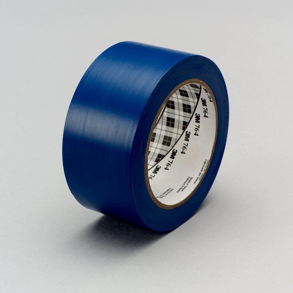 "3M™ 764-Blue-2""x36yd General Purpose Vinyl Tape, 36 yd L x 2 in W, 5 mil THK, Rubber Adhesive, PVC Backing, Blue"