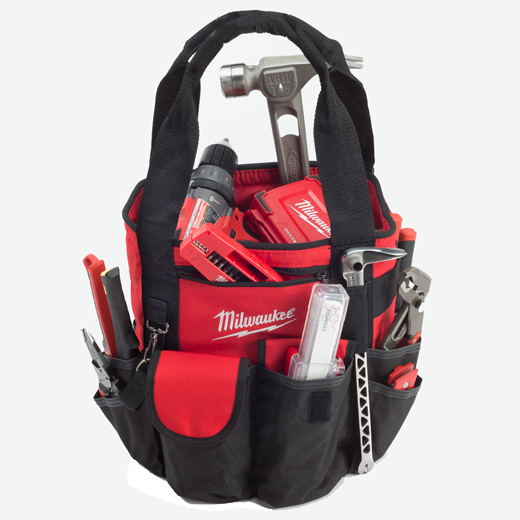 Milwaukee® 49-17-0180 Bucket Less Heavy Duty Open Tool Carrier, 18 in H x 12 in W x 18 in D, 50 Pockets, Denier Ripstop Polyester, Red