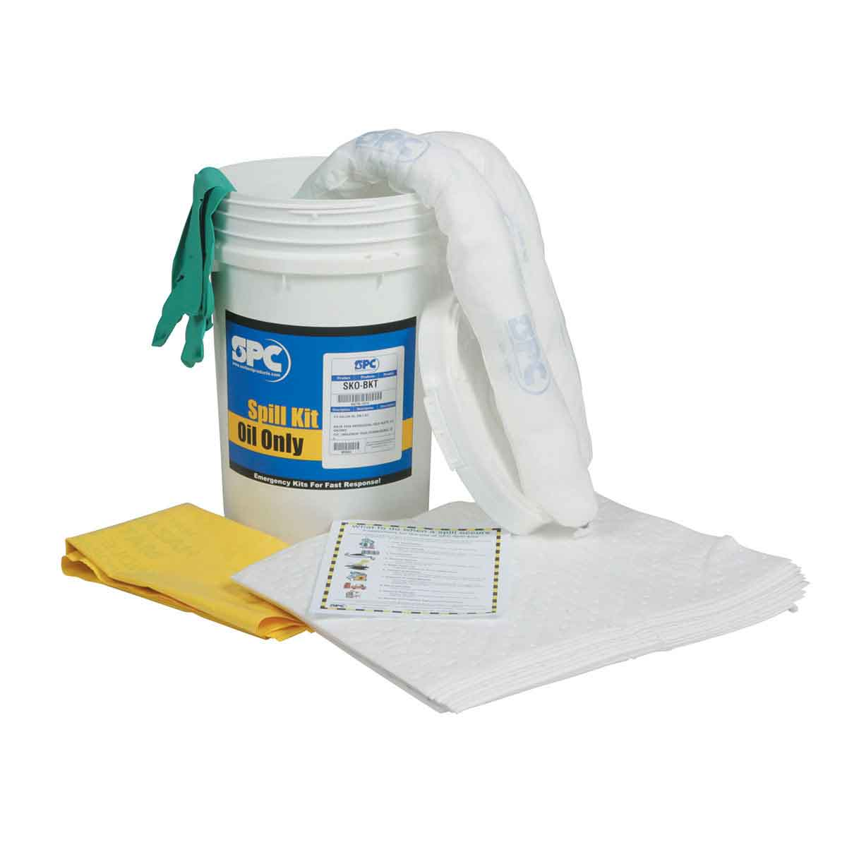 SPC® SKO-BKT Portable Spill Kit, 6.5 gal Bucket, Fluids Absorbed: Oil Only