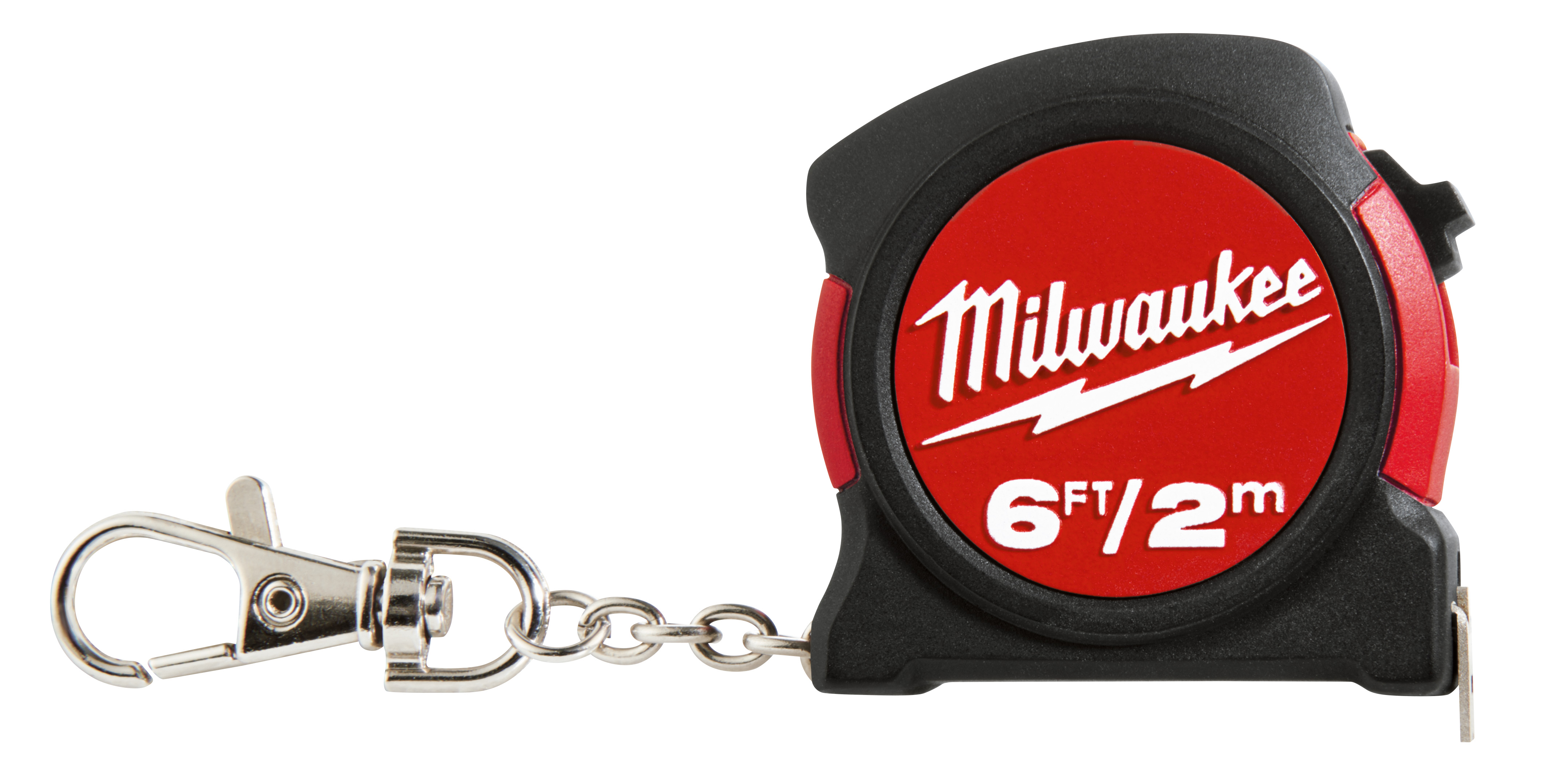 Milwaukee® 48-22-5506 Measuring Tape With Belt Clip and Key Chain, 6 ft L x 13 mm W Blade, Steel Blade, Imperial/Metric Measuring System, 1/16 in Top, 1 mm Bottom Graduation