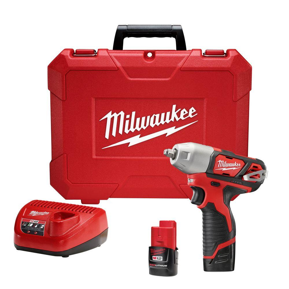 Milwaukee® M12™ 2463-22 Compact Cordless Impact Wrench Kit With Friction Ring, 3/8 in Straight Drive, 3300 bpm, 100 ft-lb Torque, 12 VDC, 6-1/2 in OAL