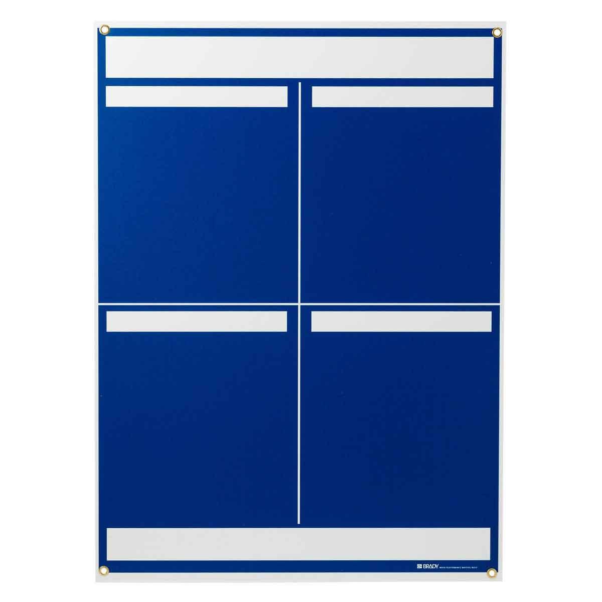 Brady® 114611 4-Panel Information Center Lean Communication Board, 34-1/4 in H, White on Blue, Rectangle Shape, Polystyrene