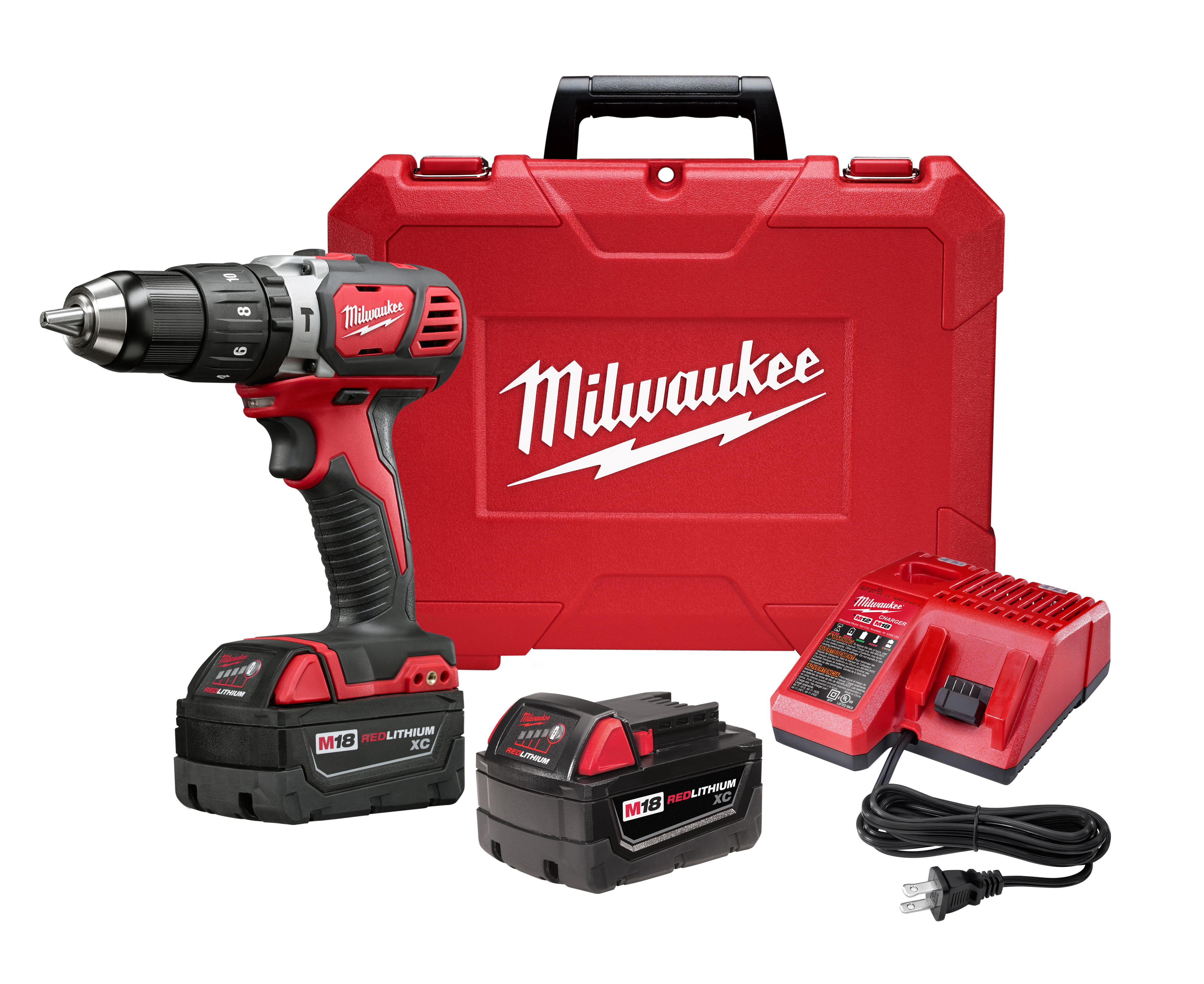 Milwaukee® M18™ 2607-22 Hammer Drill/Driver Kit, 1/2 in Metal Single Sleeve Ratcheting Lock Chuck, 18 VDC, 400/1800 rpm No-Load, Lithium-Ion Battery