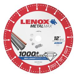 LENOX® TOOLS METALMAX™ 1972930 METALMAX™ Type 1 Cut-Off Wheel, 12 in Dia x 0.15 in THK, 1 in Center Hole, 25/30 Grit, Diamond Abrasive