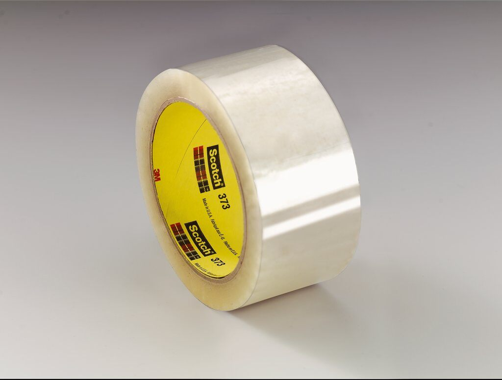 3M™ 373-Clear-72mmx50m High Performance Box Sealing Tape, 50 m L x 72 mm W, 2.5 mil THK, Hot Melt Synthetic Rubber Resin Adhesive, Polypropylene Film Backing, Clear