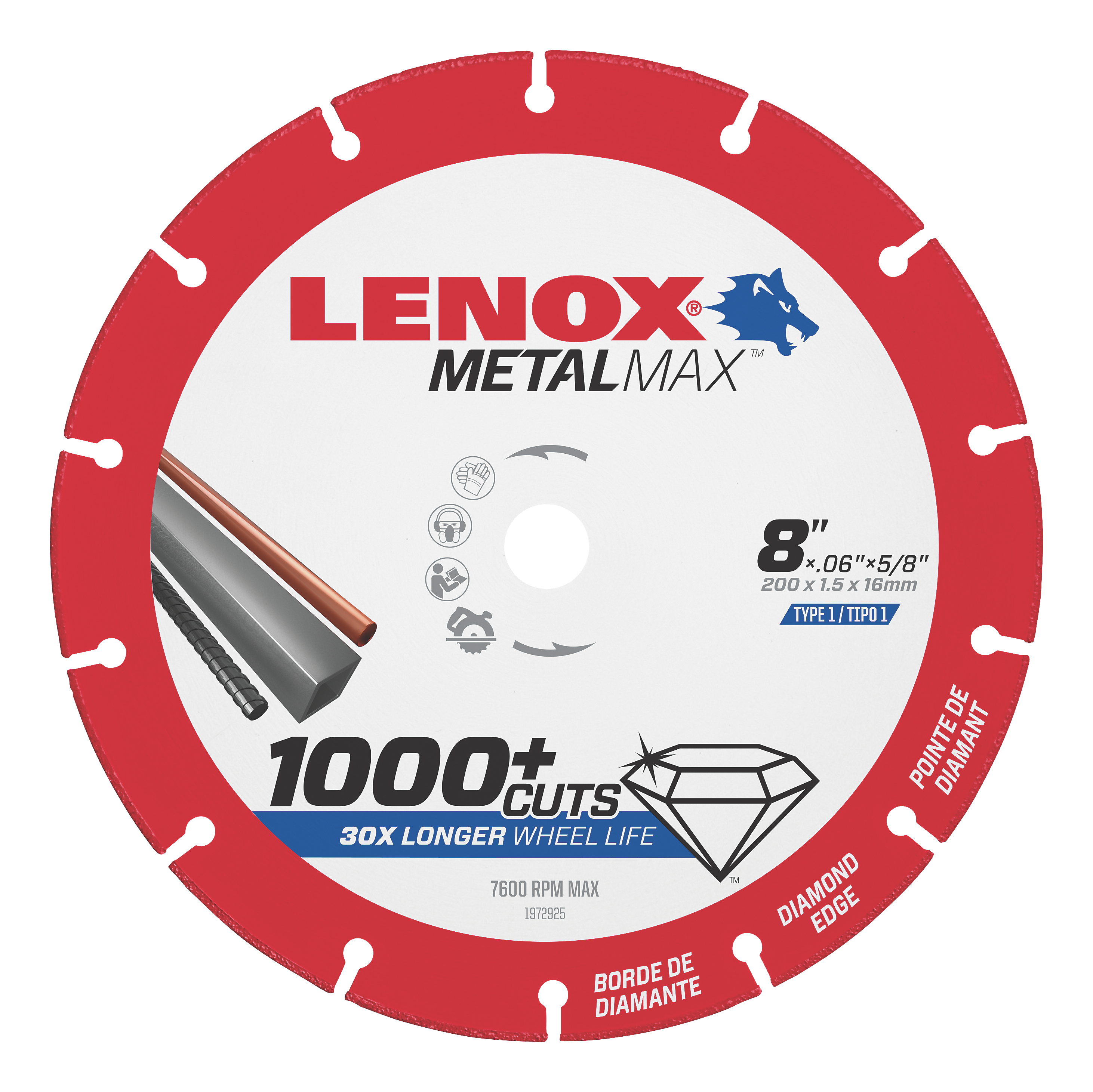 LENOX® TOOLS METALMAX™ 1972925 METALMAX™ Type 1 Cut-Off Wheel, 8 in Dia x 0.06 in THK, 5/8 in Center Hole, 40/50 Grit, Diamond Abrasive