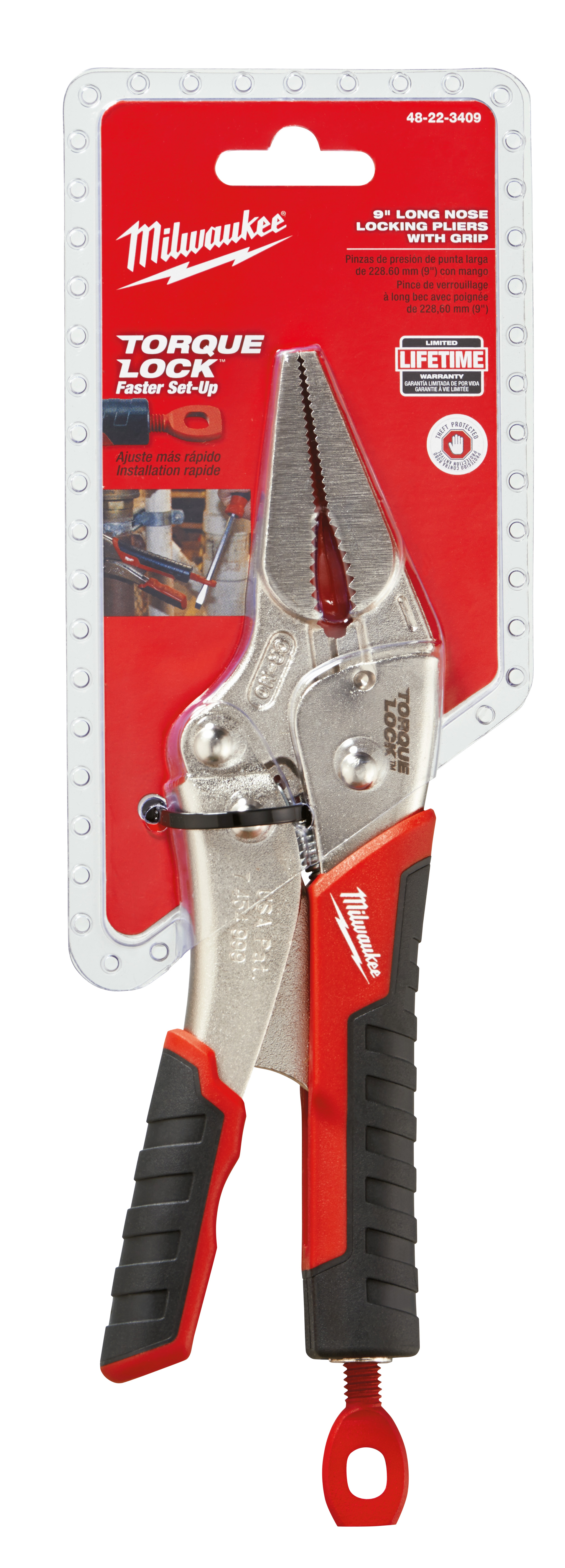 Milwaukee® TORQUE LOCK™ 48-22-3409 Locking Plier With Wire Cutter, 2-1/2 in Nominal, 2.11 in L x 3/16 in W Forged Alloy Steel Long Nose Curved Jaw, 9 in OAL