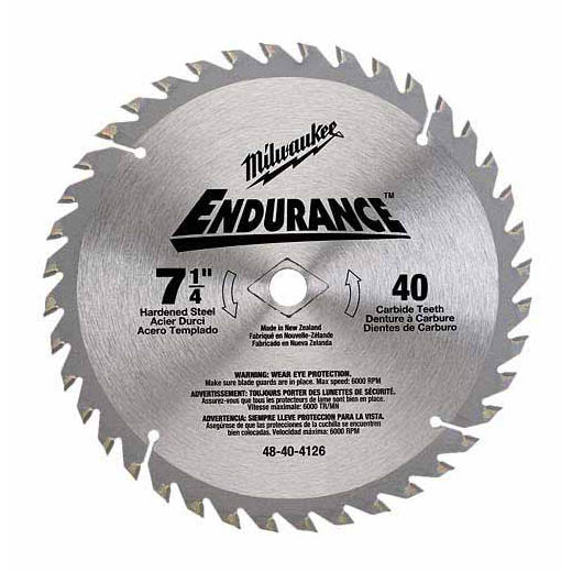 Milwaukee® 48-40-4126 Thin Kerf Circular Saw Blade With Diamond Knockout, 7-1/4 in Dia x 0.047 in THK, 5/8 in Arbor, Alloy Steel Blade, 40 Teeth