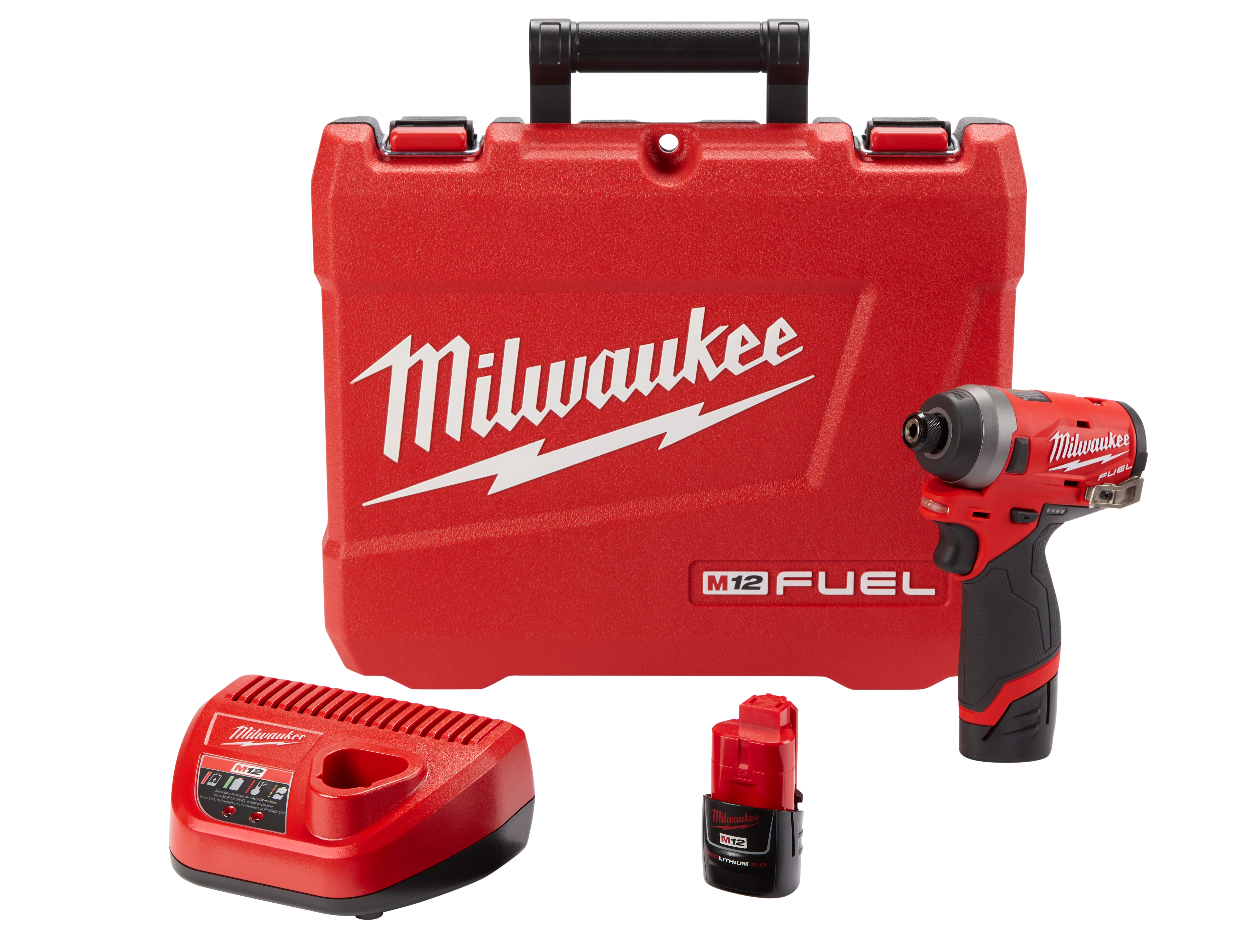 Milwaukee® M12™ FUEL™ 2553-22 Cordless Impact Driver Kit, 1/4 in Hex Drive, 4000 bpm, 1300 in-lb Torque, 12 VAC, 5.1 in OAL