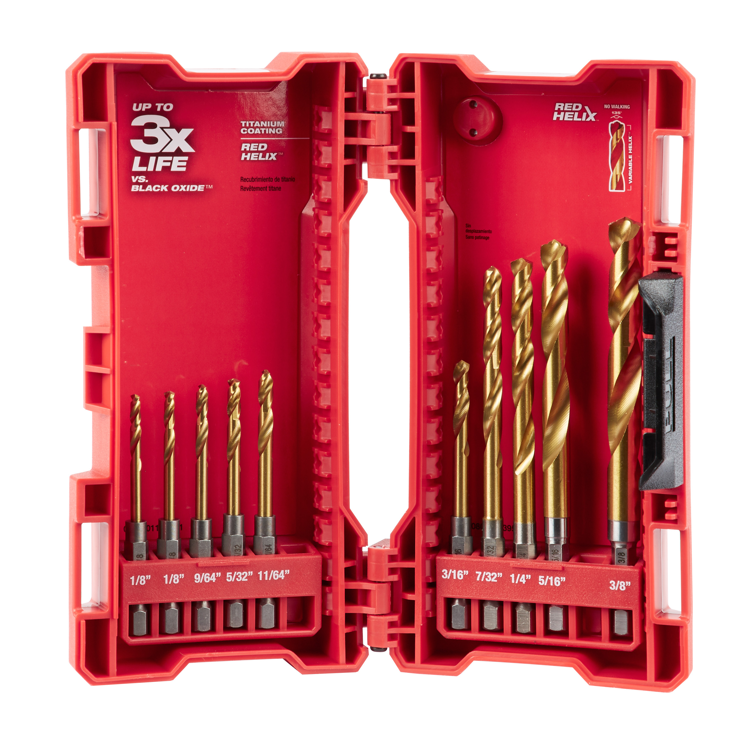 Milwaukee® SHOCKWAVE™ RED HELIX™ 48-89-4633 Drill Bit Set, 1-9/64 in Min Drill Bit, 2-1/8 in Max Drill Bit, 135 deg Drill Point Angle, 10 Pieces, Titanium Coated