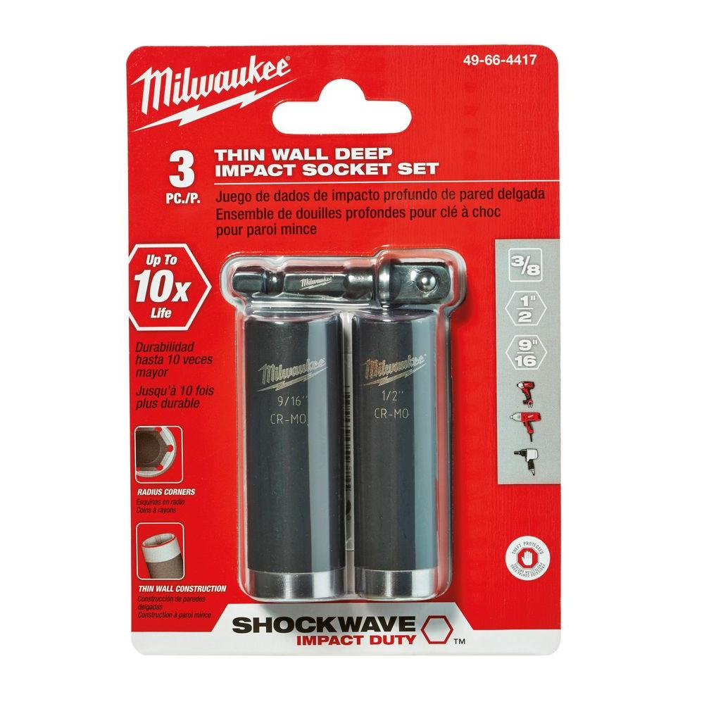 Milwaukee® 49-66-4417 Deep Thinwall Socket Set, Imperial, 6 Points, 3/8 in Drive, 3 Pieces