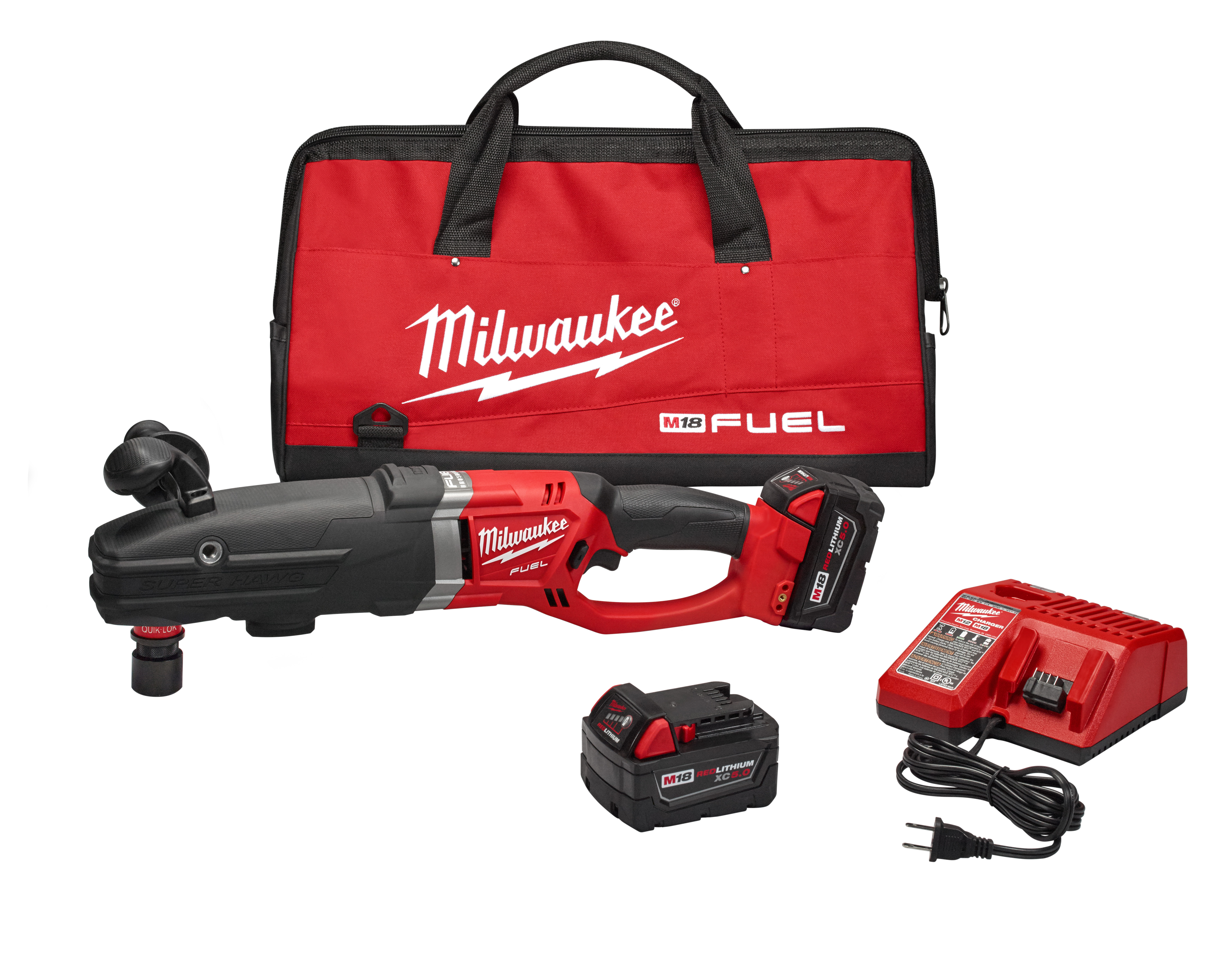 Milwaukee® M18™ FUEL™ SUPER HAWG® 2711-22 SUPER HAWG® Hex Cordless Right Angle Drill Kit, 7/16 in Keyless/QUIK-LOK™ Chuck, 18 VDC, 0 to 350/0 to 950 rpm No-Load, 22 in OAL, Lithium-Ion Battery