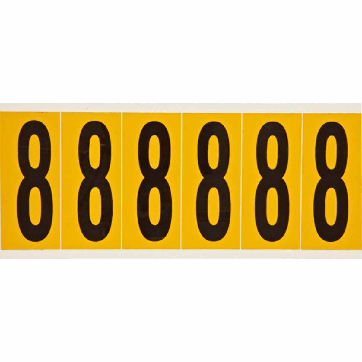 Brady® 1550-8 Non-Reflective Standard Number Label, 2.938 in H Black 8 Character, Yellow Background, B-946 Vinyl