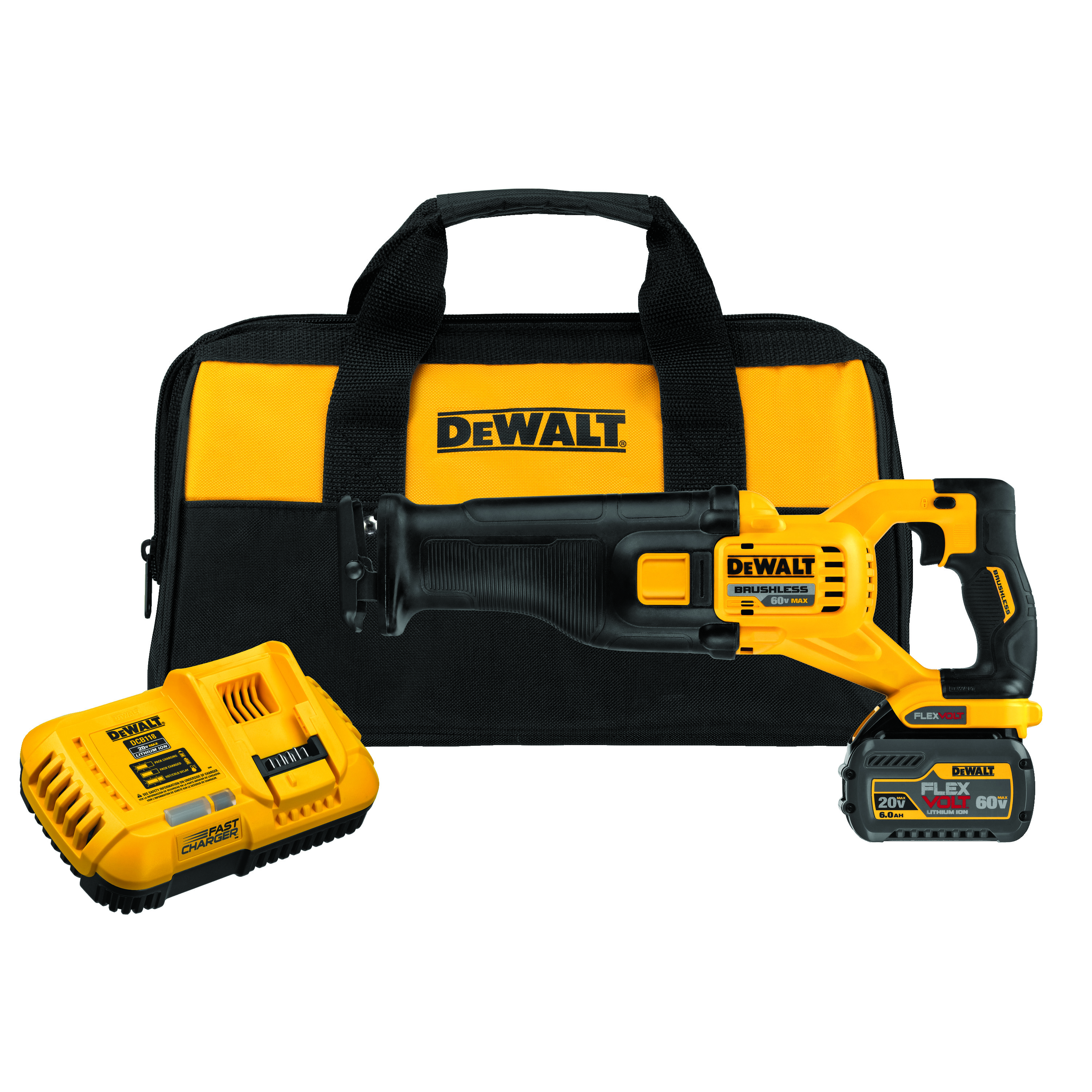 DeWALT® 60V MAX* FLEXVOLT™ DCS388T1 Brushless Cordless Reciprocating Saw With (1) Battery Kit, 1-1/8 in L Stroke, 0 to 3000 spm, Straight Cut, 60 V, 17.725 in OAL