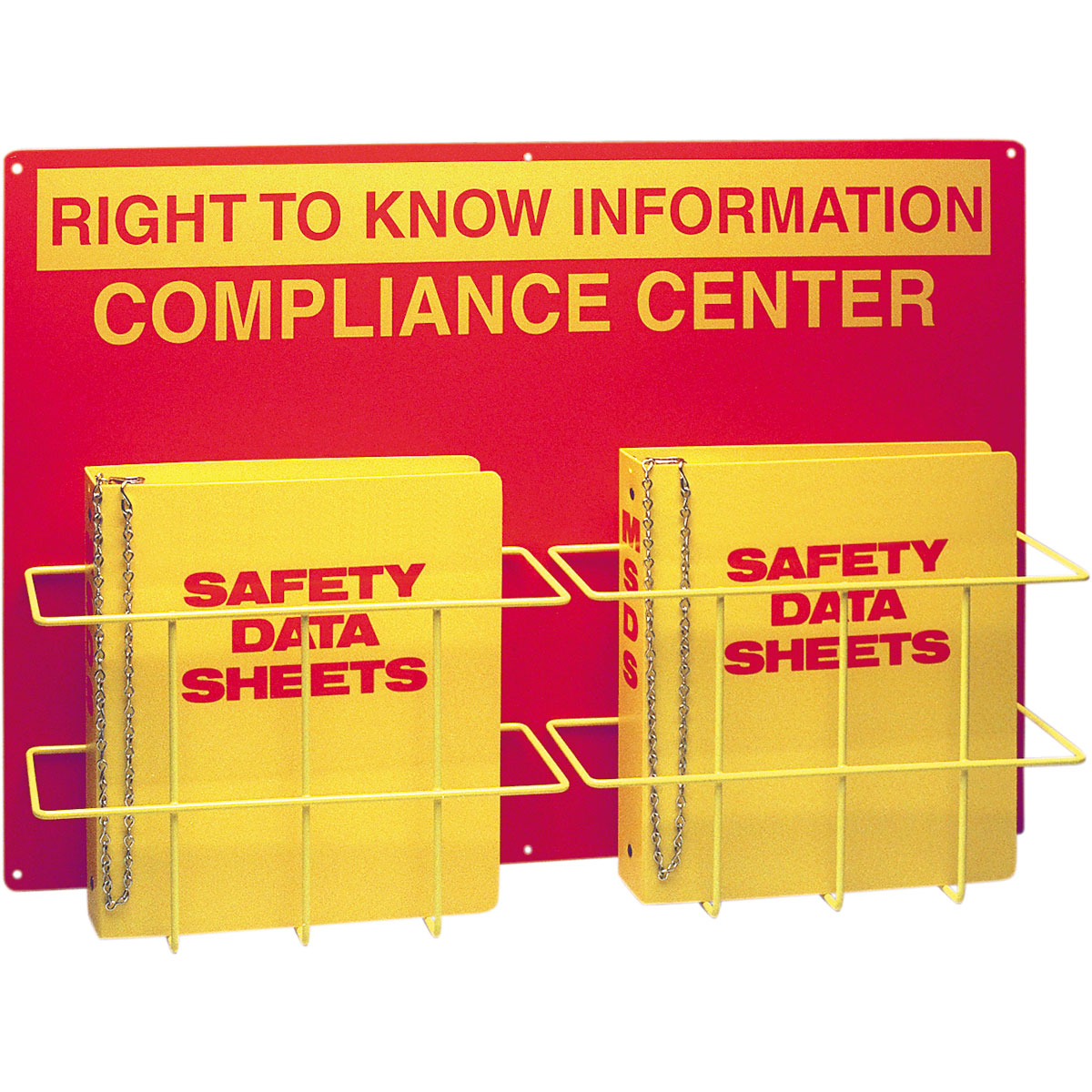 Brady® Prinzing® 2010DB Double Right-To-Know Center, RIGHT TO KNOW INFORMATION COMPLIANCE CENTER Legend, English, Yellow on Red, 20 in H x 29 in W, Polystyrene, Wall Mount