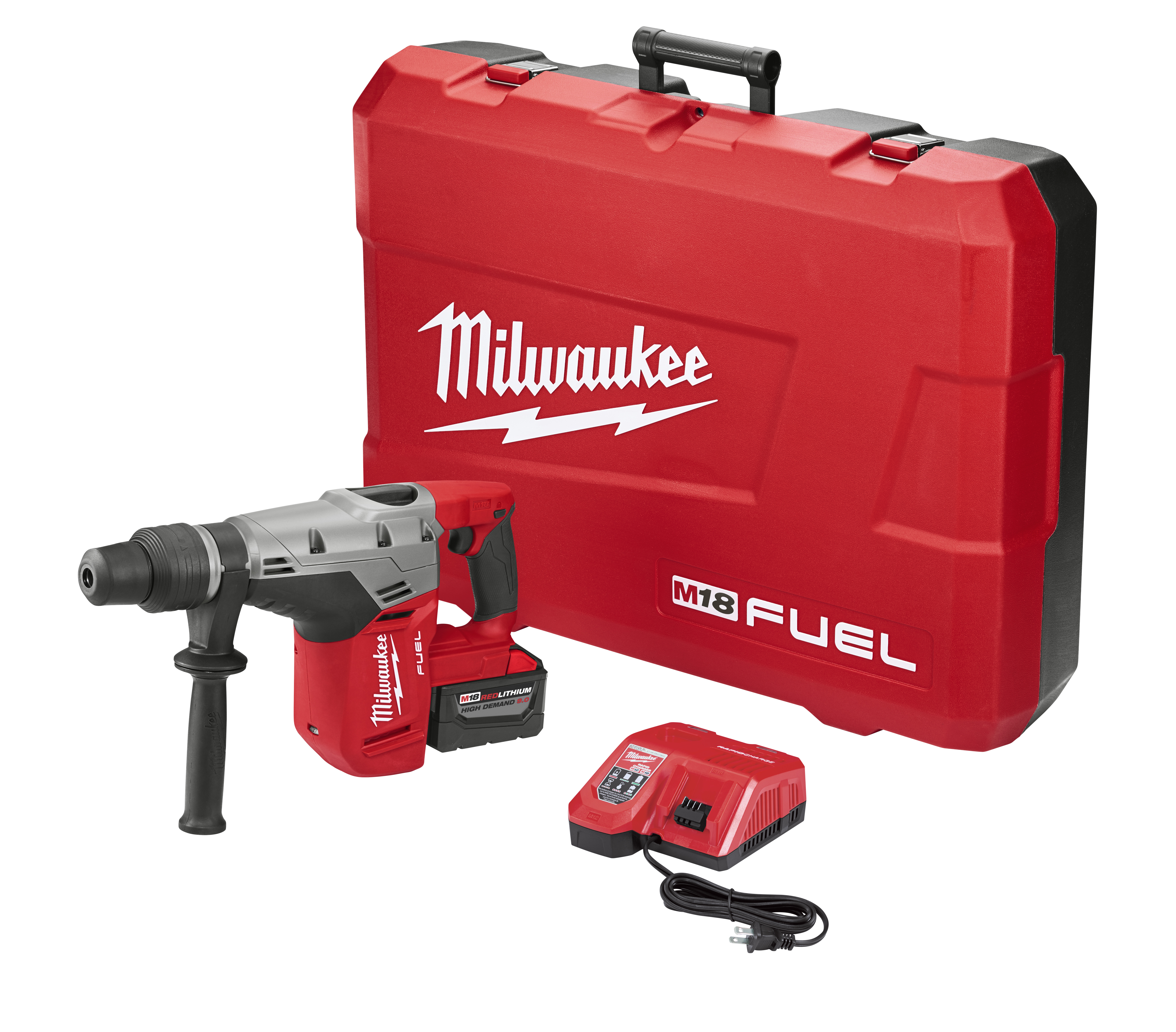 Milwaukee® M18™ FUEL™ 2717-21HD Cordless Rotary Hammer Kit, 42378 in SDS-Max® Chuck, 18 VDC, 0 to 450 rpm No-Load, Lithium-Ion Battery