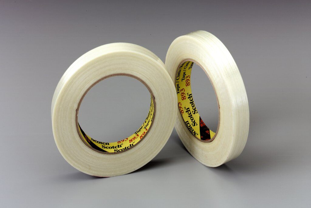 3M™ 893-48mmx55m Filament Tape, 55 m L x 48 mm W, 6 mil THK, Fiberglass Yarn Filament, Synthetic Rubber Adhesive, Polypropylene Backing, Clear