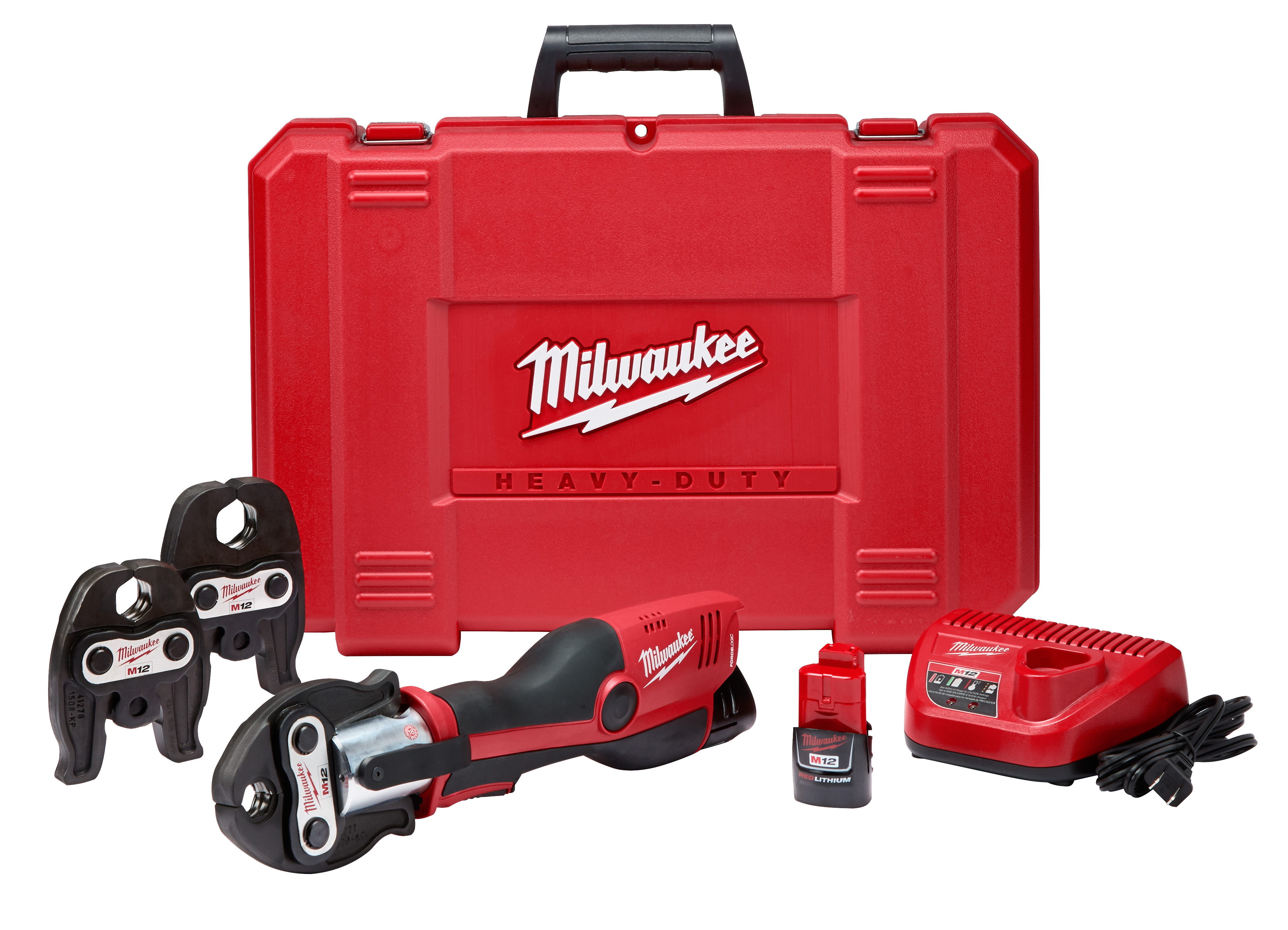 Milwaukee® M18™ 2473-22 FORCE LOGIC™ Press Tool Kit With Jaw, 1/2 to 1-1/4 in Copper Capacity, 5400 lb, 12 VDC, M12™ REDLITHIUM™ Battery
