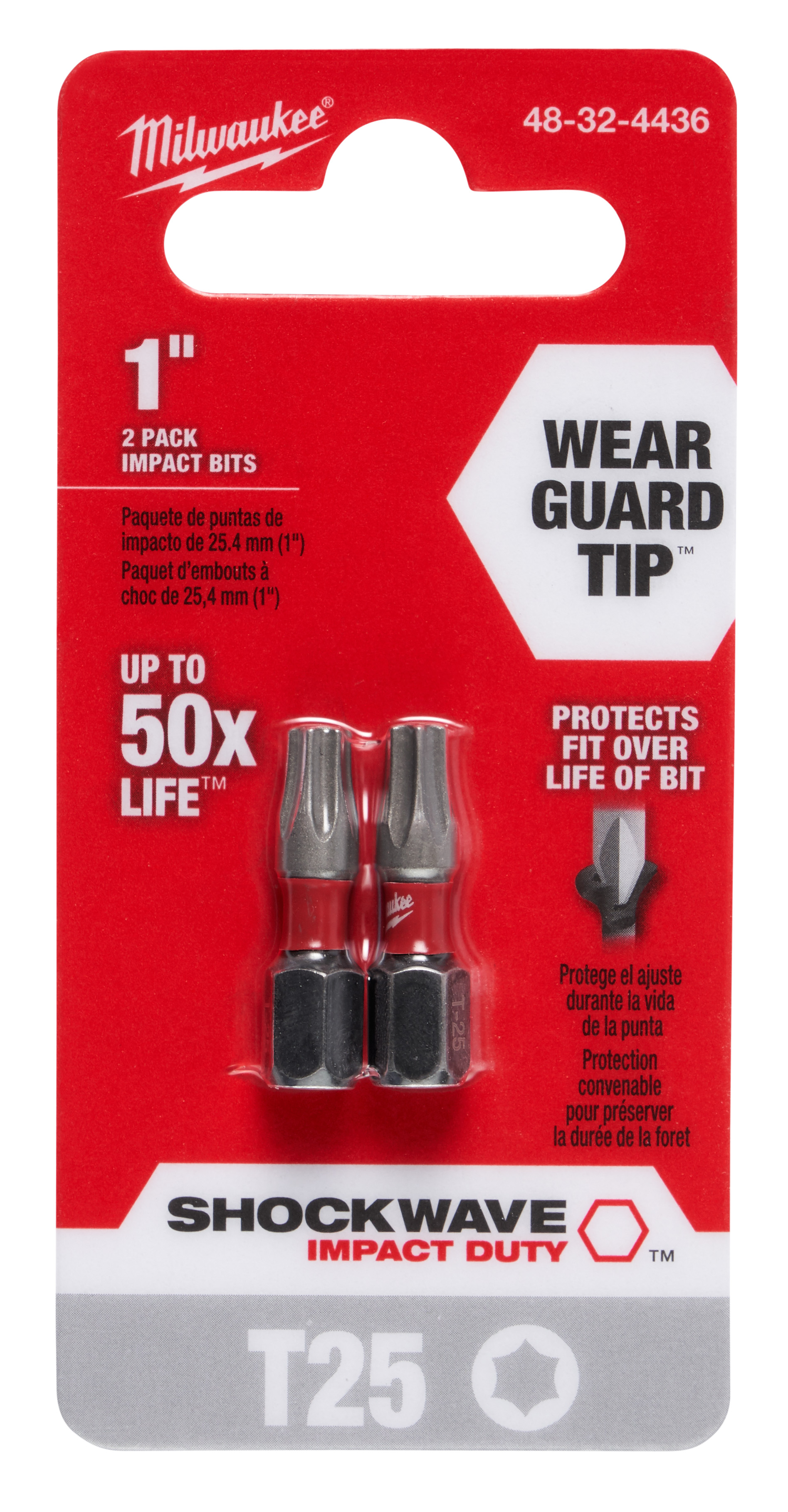 Milwaukee® SHOCKWAVE™ 48-32-4443 Single Ended Combo Power Bit Kit, 2 Pieces, 2 in L, 1/4 in Hex Shank, Carbon Steel