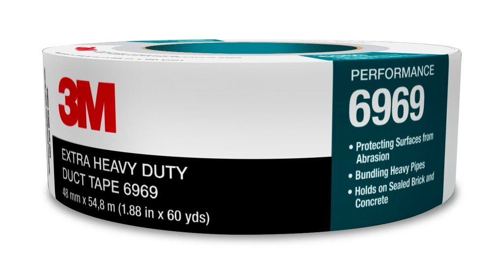 3M™ 6969-3x60 Extra Heavy Duty Duct Tape, 54.8 m L x 72 mm W, 10.7 mil THK, Rubber Adhesive, Polyethylene Film Over Cloth Scrim Backing, Silver