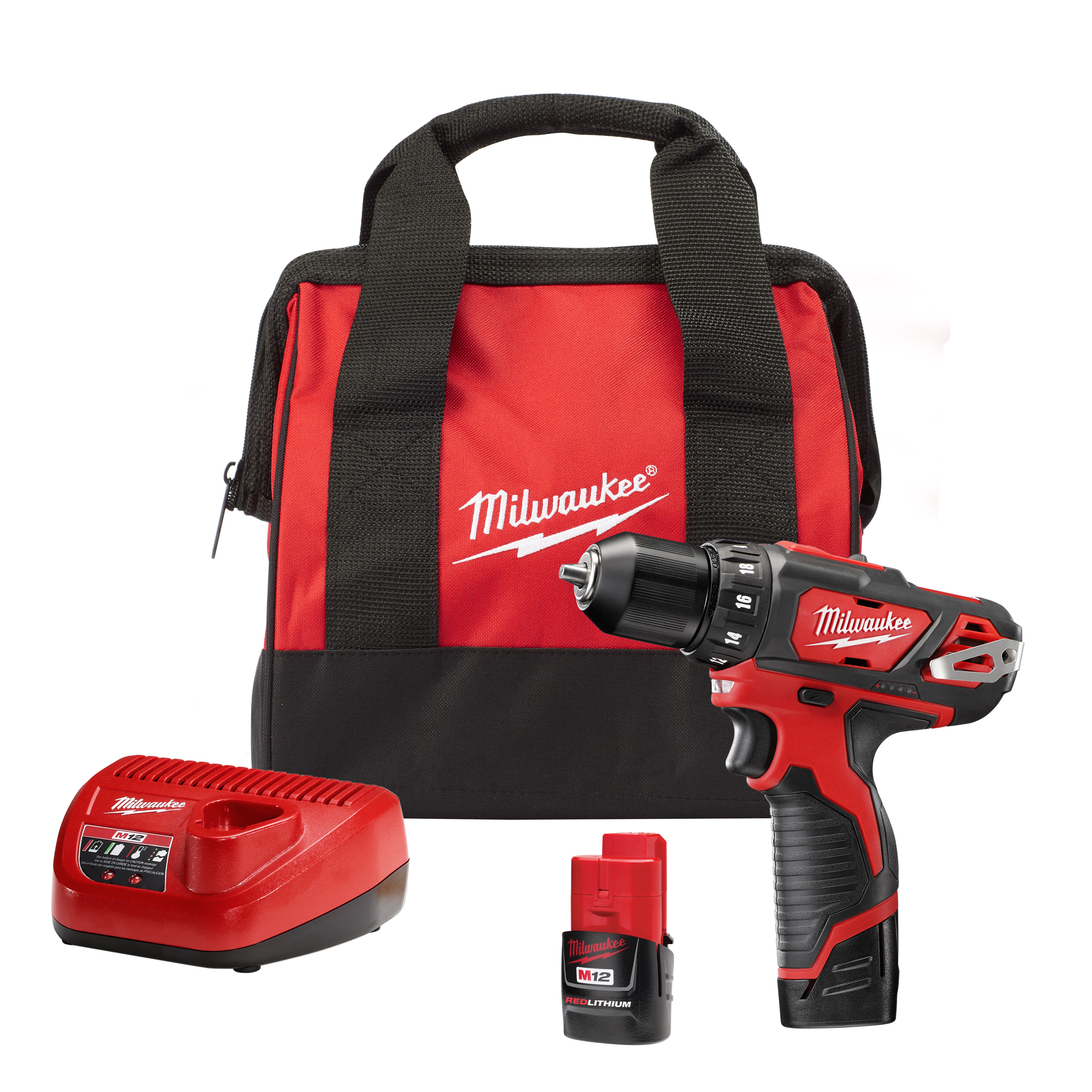 Milwaukee® M12™ 2407-22 Compact Lightweight Cordless Drill/Driver Kit, 3/8 in Chuck, 12 VDC, 0 to 400 rpm, 0 to 1500 rpm No-Load, 7-3/8 in OAL, Lithium-Ion Battery