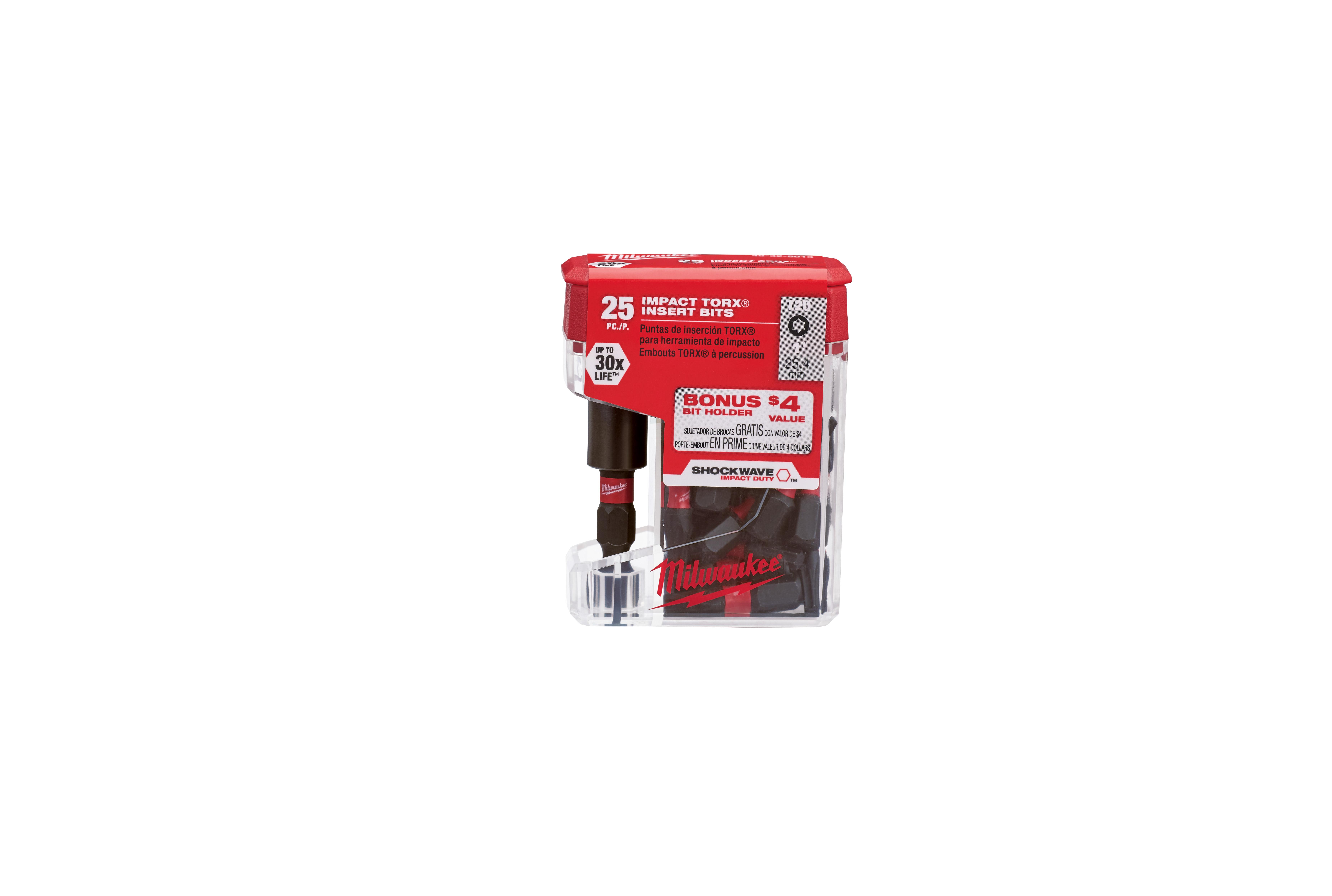 Milwaukee® SHOCKWAVE™ 48-32-5013 Impact Insert Bit, T20 Torx® Point, 1 in OAL, 1/4 in, Steel
