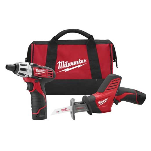 Milwaukee® M12™ 2490-22 Cordless Combination Kit, Tools: Reciprocating Saw, Screwdriver, 12 VDC, 1.5 Ah Lithium-Ion