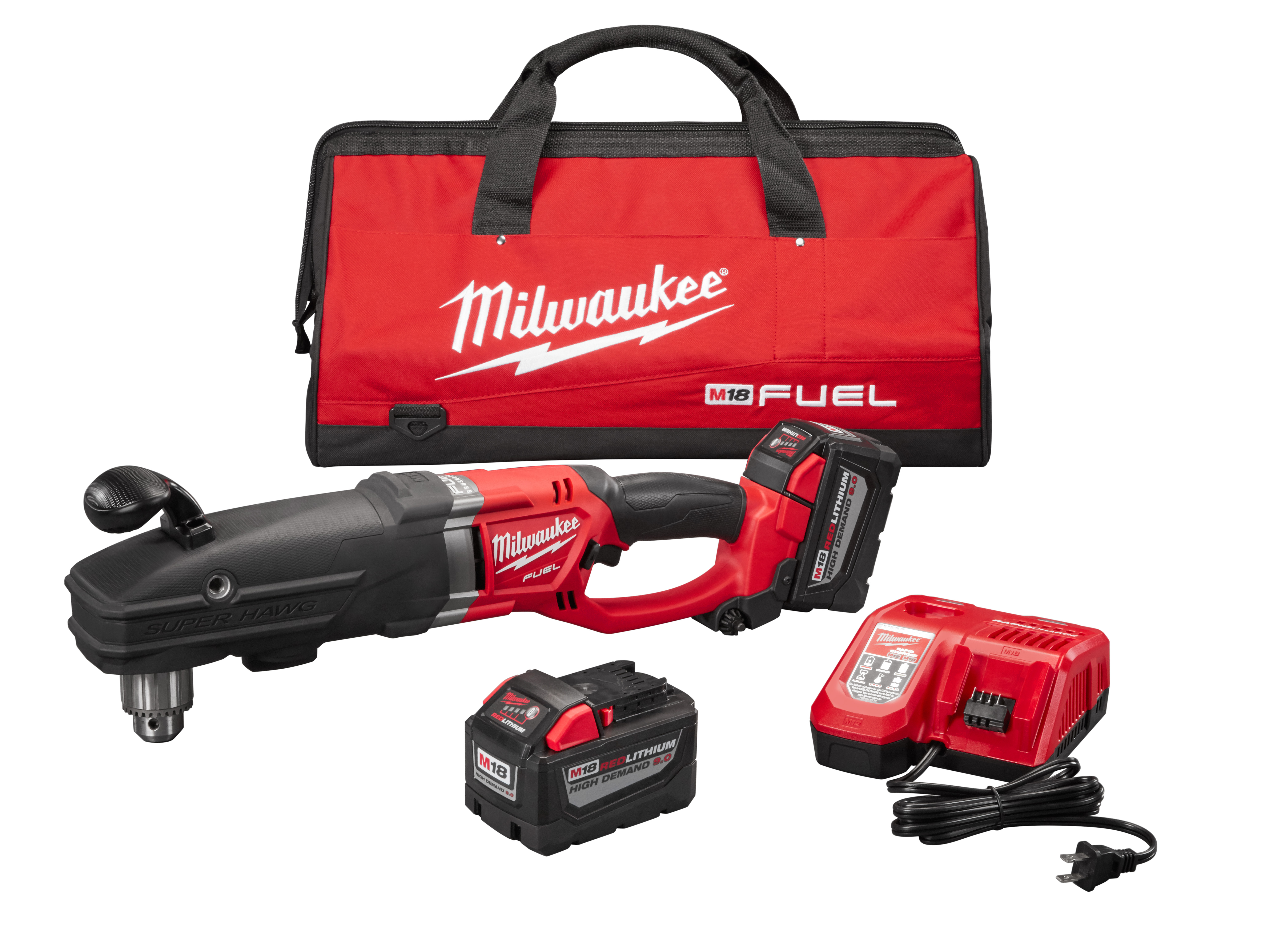 Milwaukee® M18™ FUEL™ 2709-22HD HighDEMAND™ SUPER HAWG® Cordless Right Angle Drill Kit, 1/2 in Metal Keyed Chuck, 18 VDC, 0 to 350/0 to 950 rpm No-Load, 22 in OAL, Lithium-Ion Battery