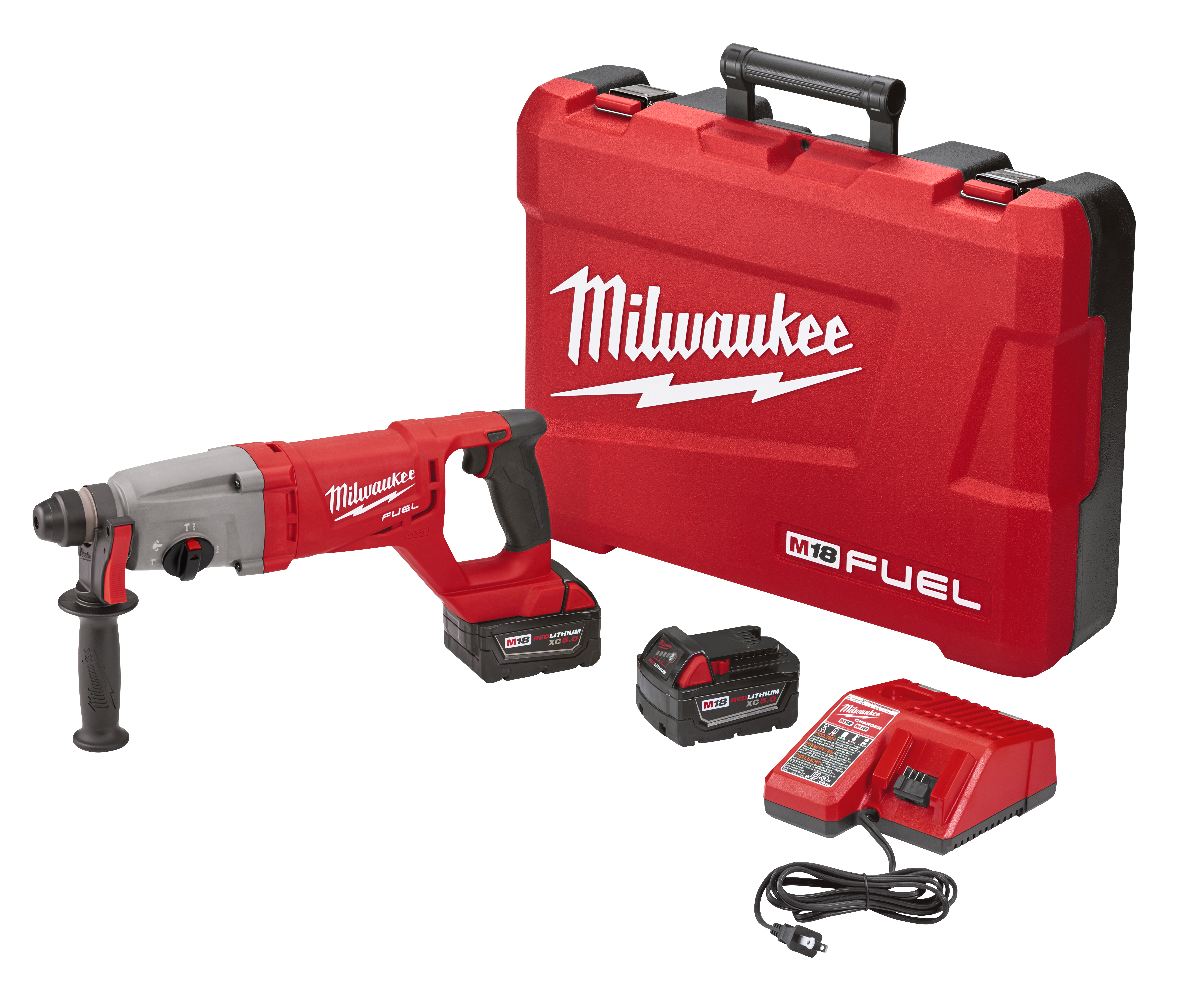 Milwaukee® M18™ FUEL™ 2713-22 Cordless Rotary Hammer Kit, 1 in SDS Plus® Chuck, 18 VAC, 0 to 1500 rpm No-Load, Lithium-Ion Battery