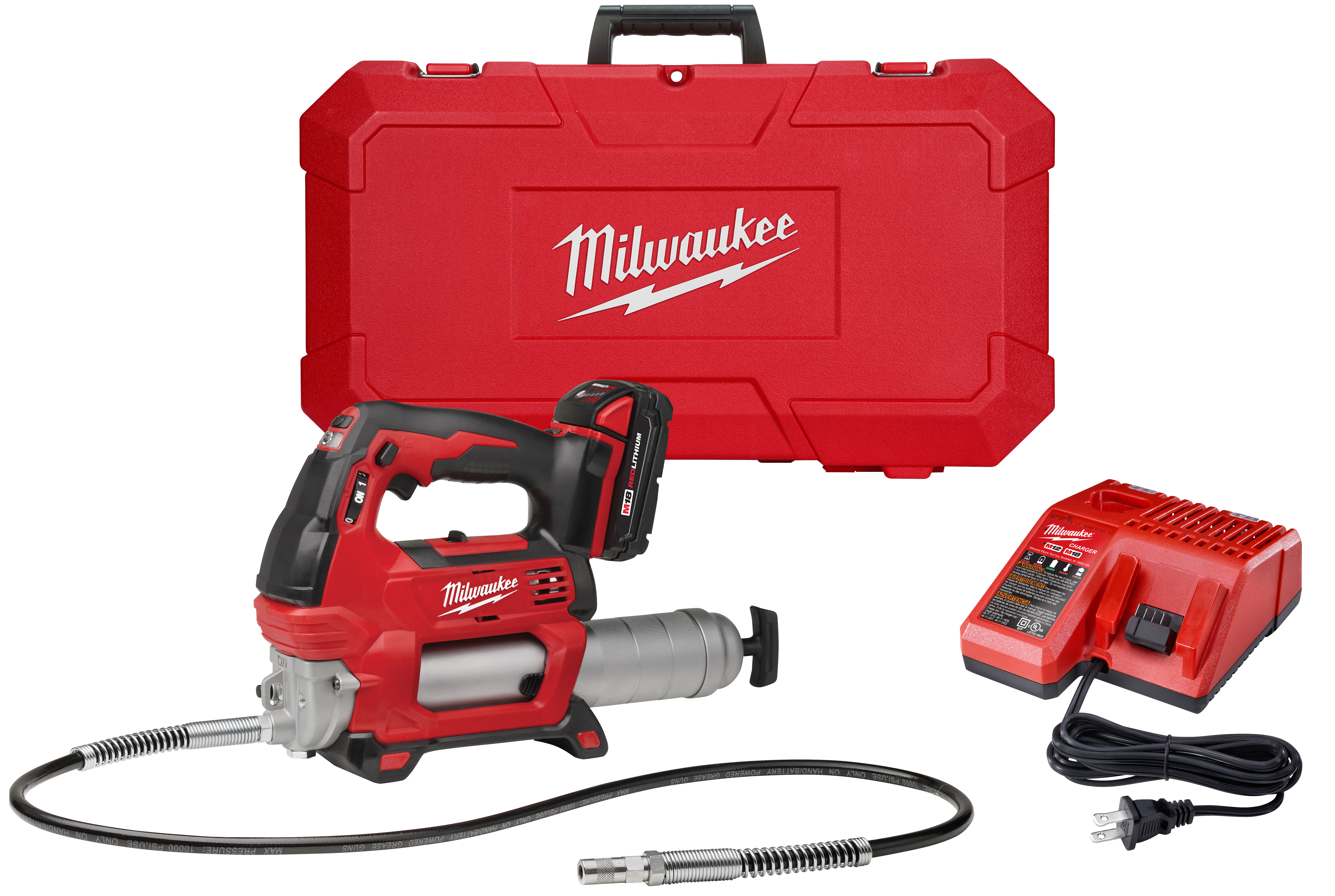Milwaukee® M18™ 2646-21CT 2-Speed Cordless Grease Gun Kit, 14.5 oz Cartridge, 10000 psi Operating