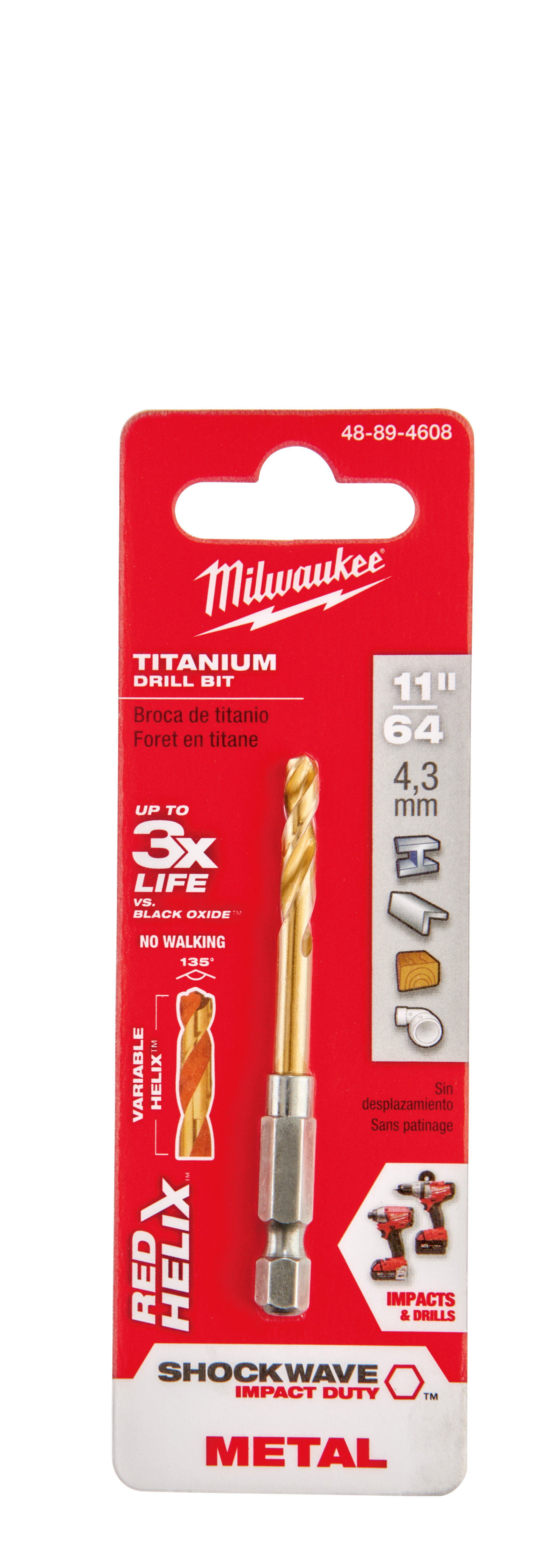 Milwaukee® 48-89-4608 SHOCKWAVE™ Hex Shank Impact Drill Bit, 11/64 in Drill - Fraction, 0.1719 in Drill - Decimal Inch, 1-3/32 in D Cutting